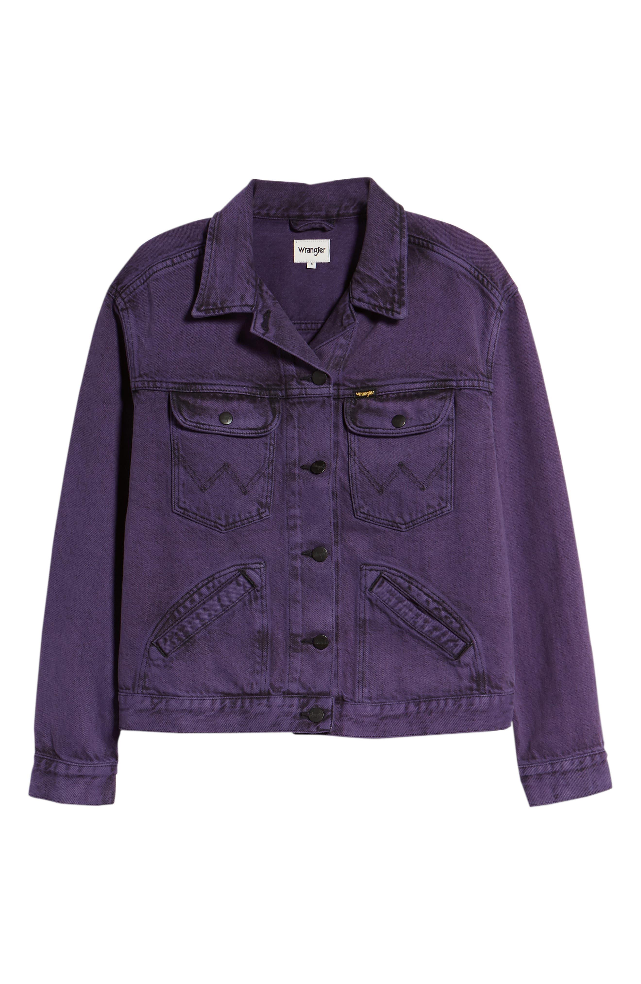 Denim Jacket,                             Alternate thumbnail 7, color,                             Purple Pop