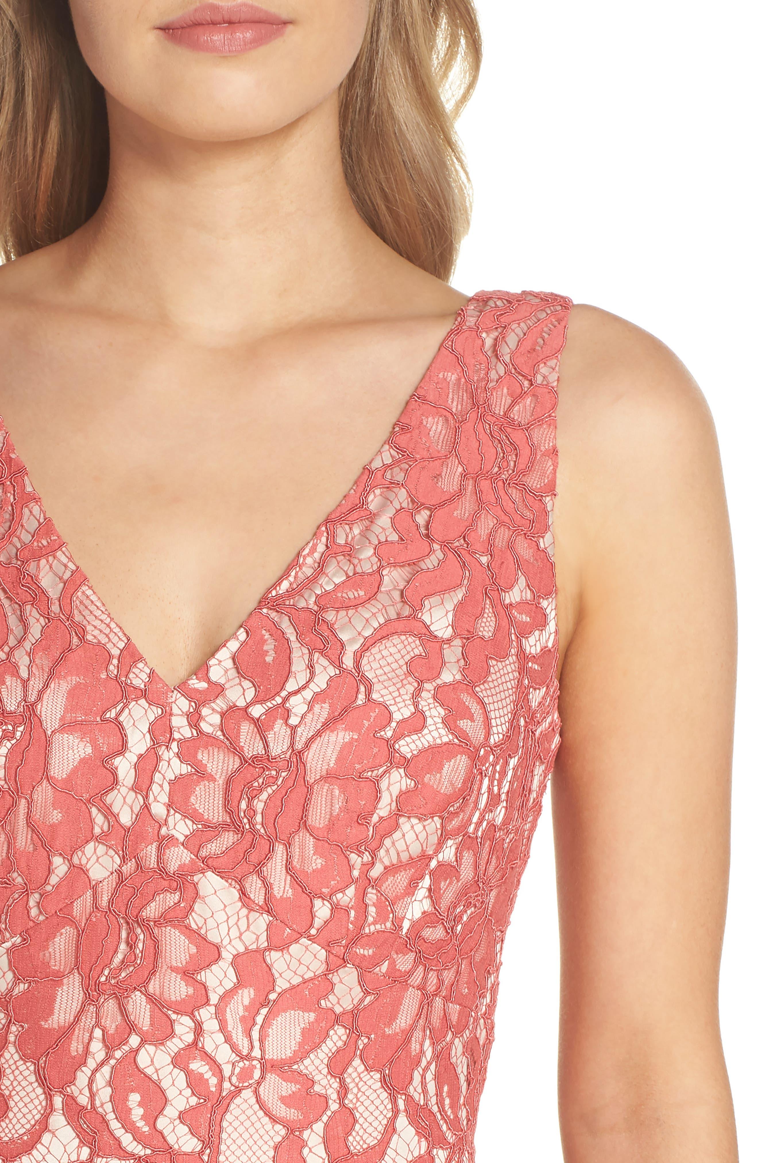 V-Neck Lace Midi Dress,                             Alternate thumbnail 4, color,                             Rose