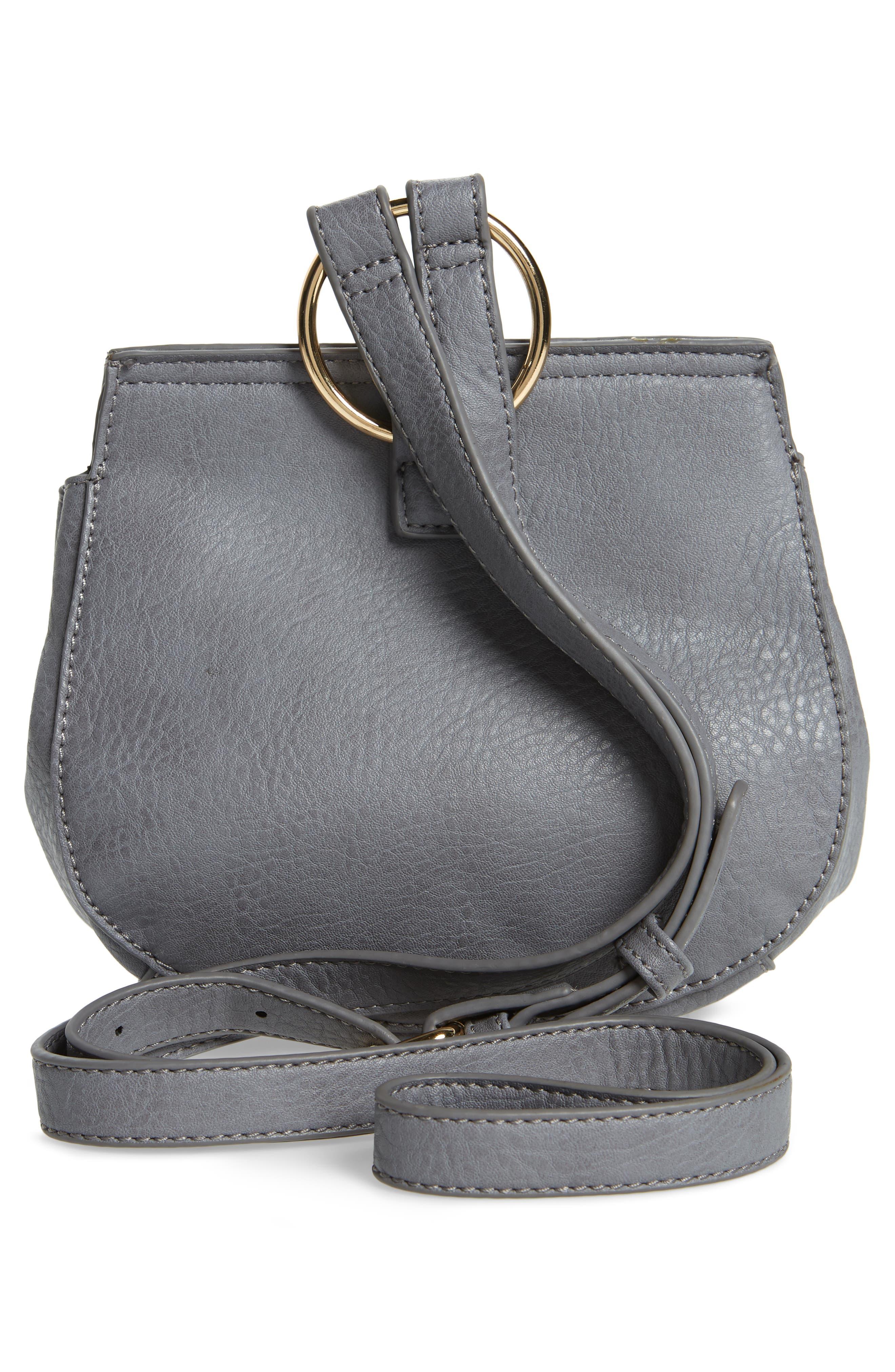Tassel Faux Leather Crossbody Saddle Bag,                             Alternate thumbnail 3, color,                             Grey