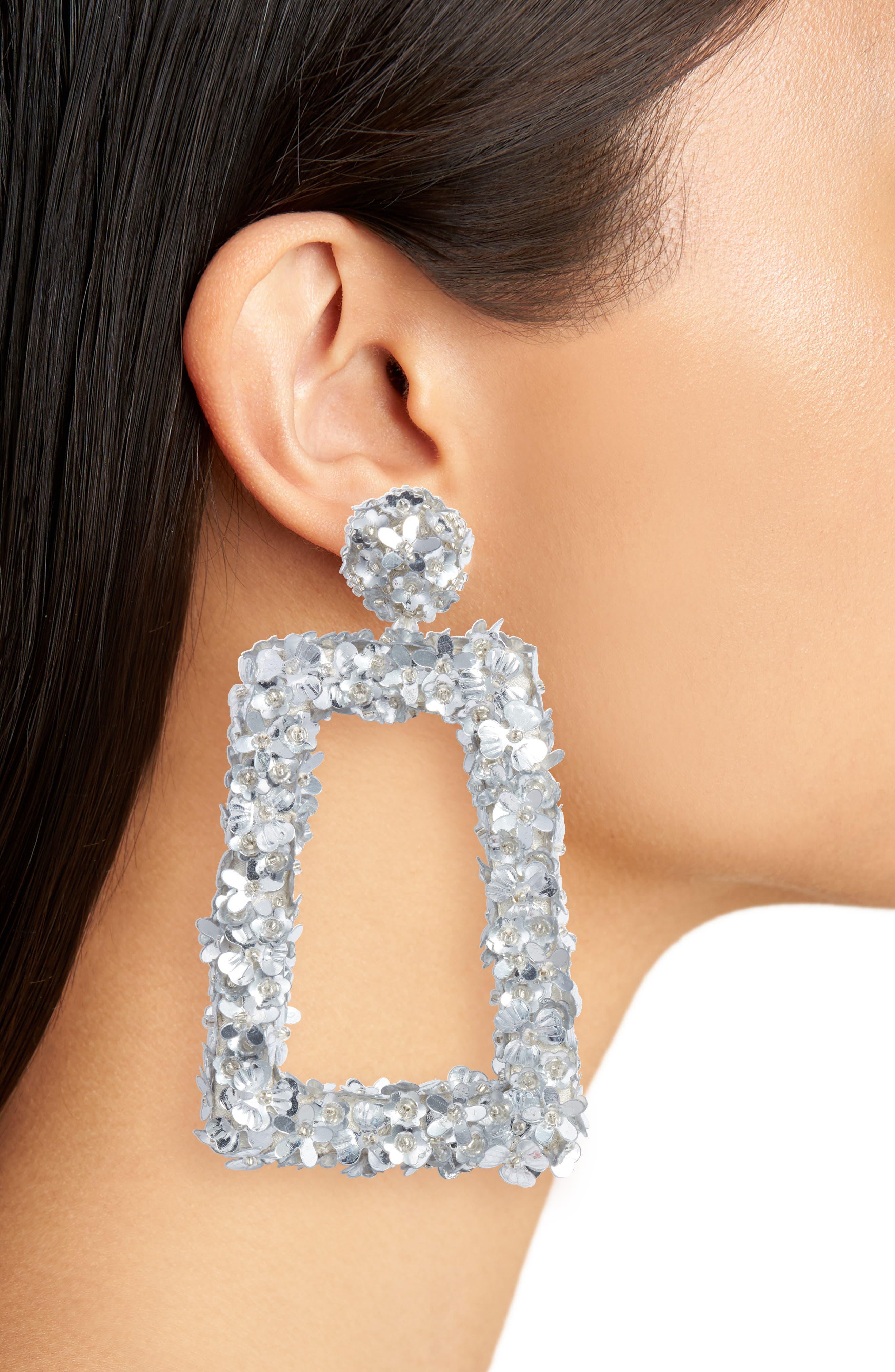 Fleur Dusk Earrings,                             Alternate thumbnail 2, color,                             Silver