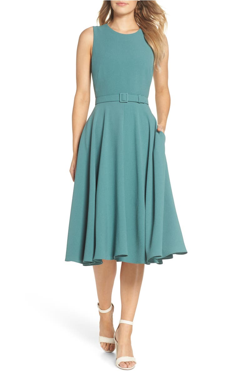 Kaye Belted Fit & Flare Dress,                         Main,                         color, Green