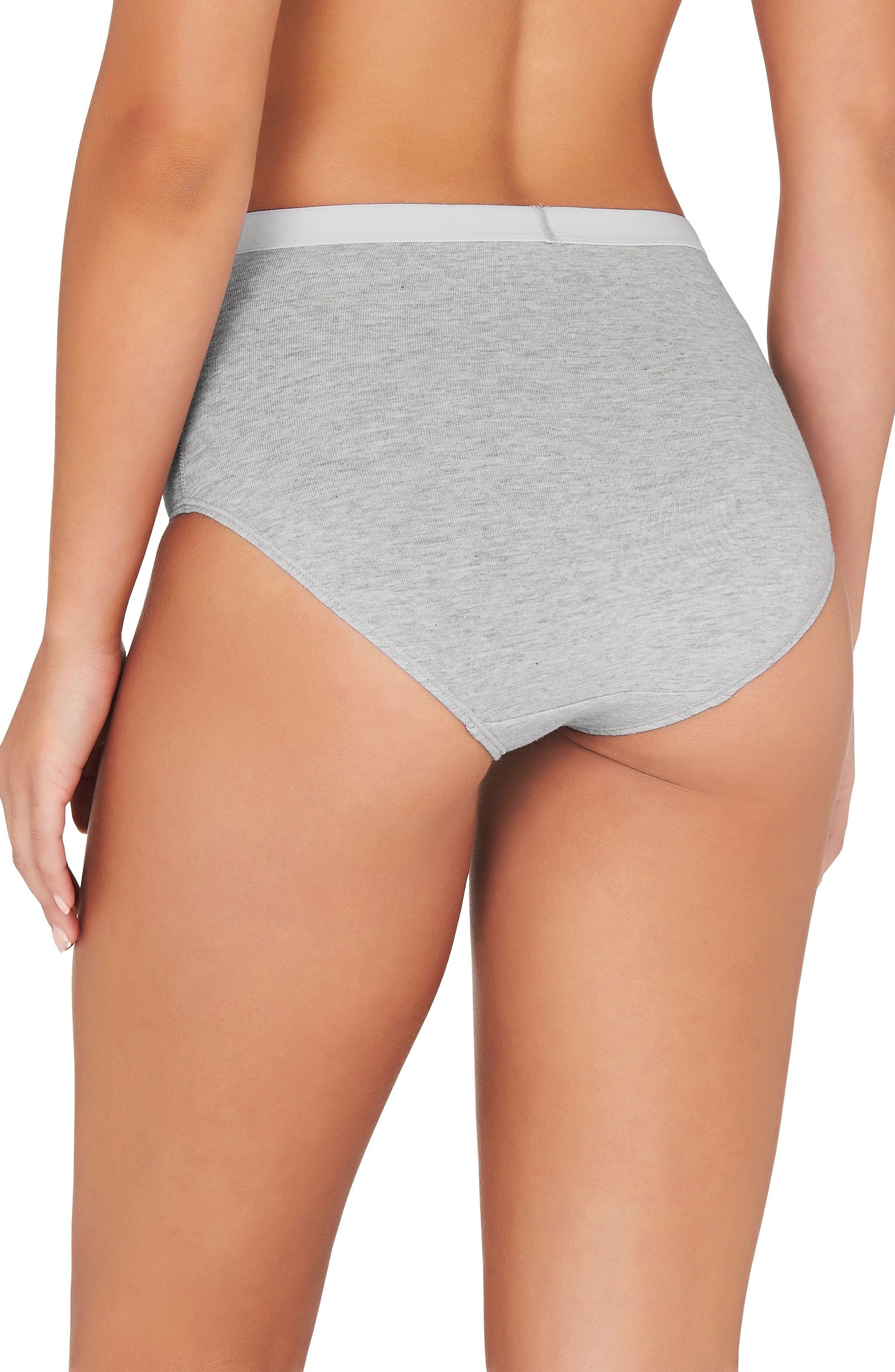 3-Pack Stretch Organic Cotton High Waist Briefs,                             Alternate thumbnail 3, color,                             Grey Marle