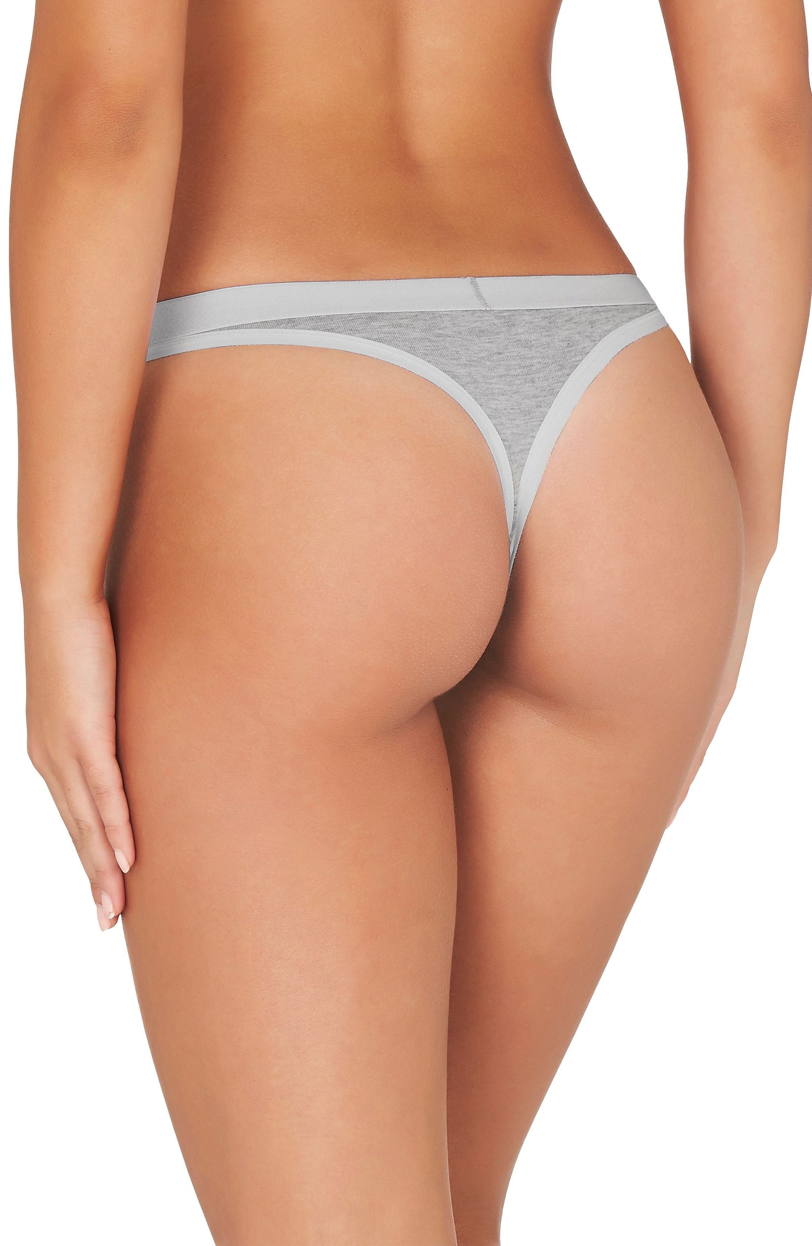 2-Pack Stretch Organic Cotton Girlfriend G-Strings,                             Alternate thumbnail 4, color,                             Grey Marle