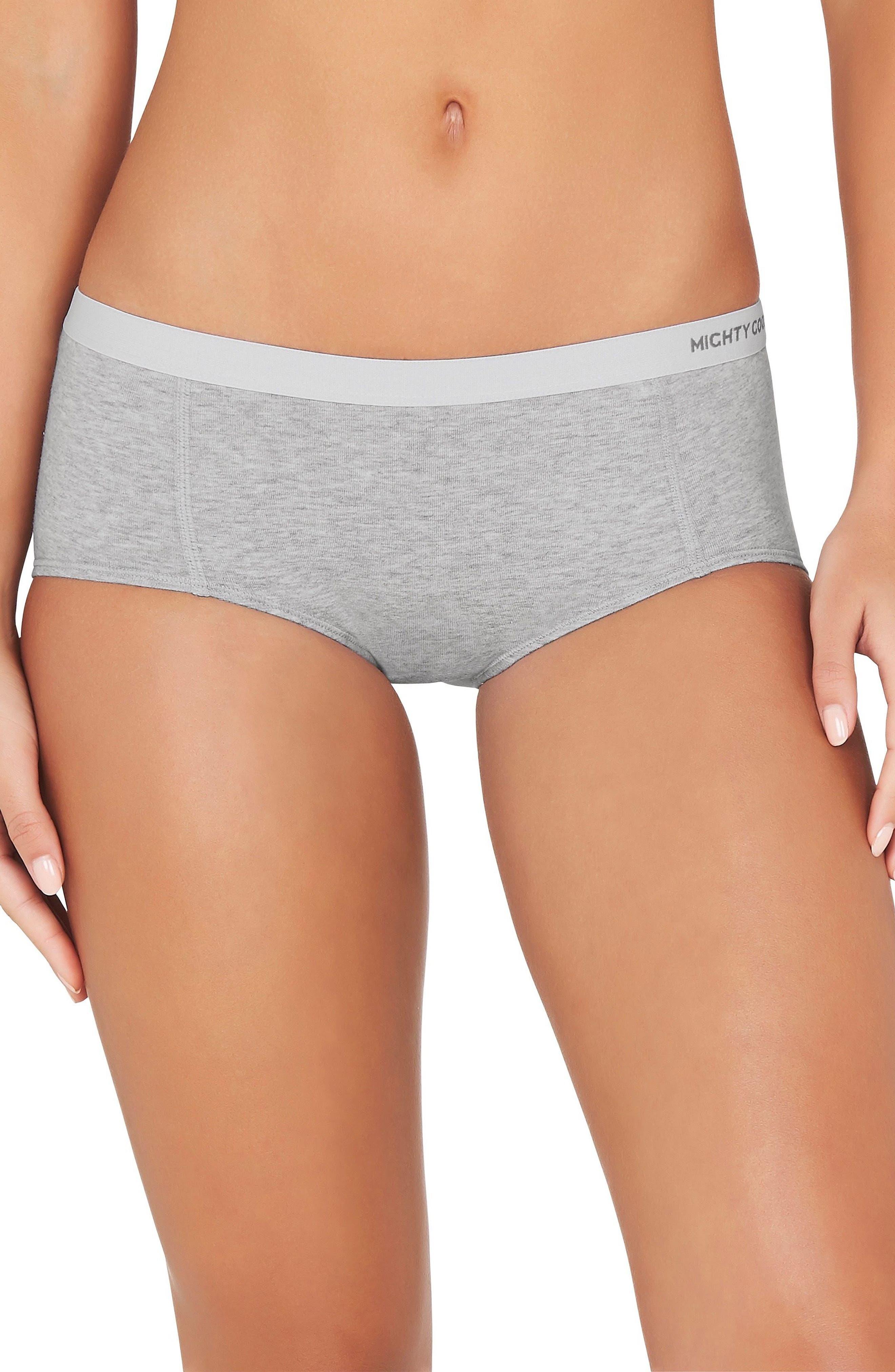 2-Pack Stretch Organic Cotton Girlfriend Boyshorts,                         Main,                         color, Grey Marle