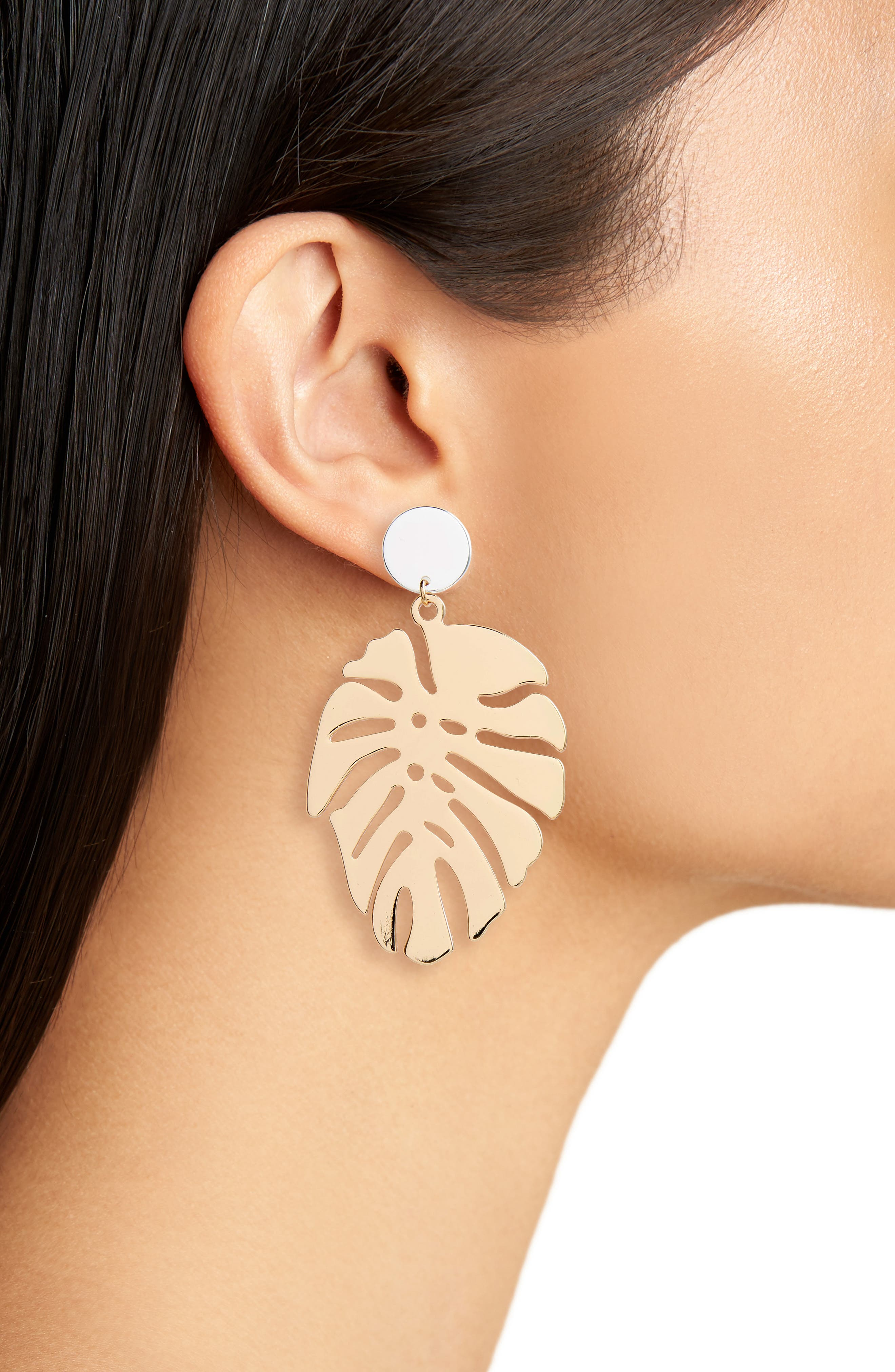 Palm Leaf Drop Earrings,                             Alternate thumbnail 2, color,                             Gold/ Silver