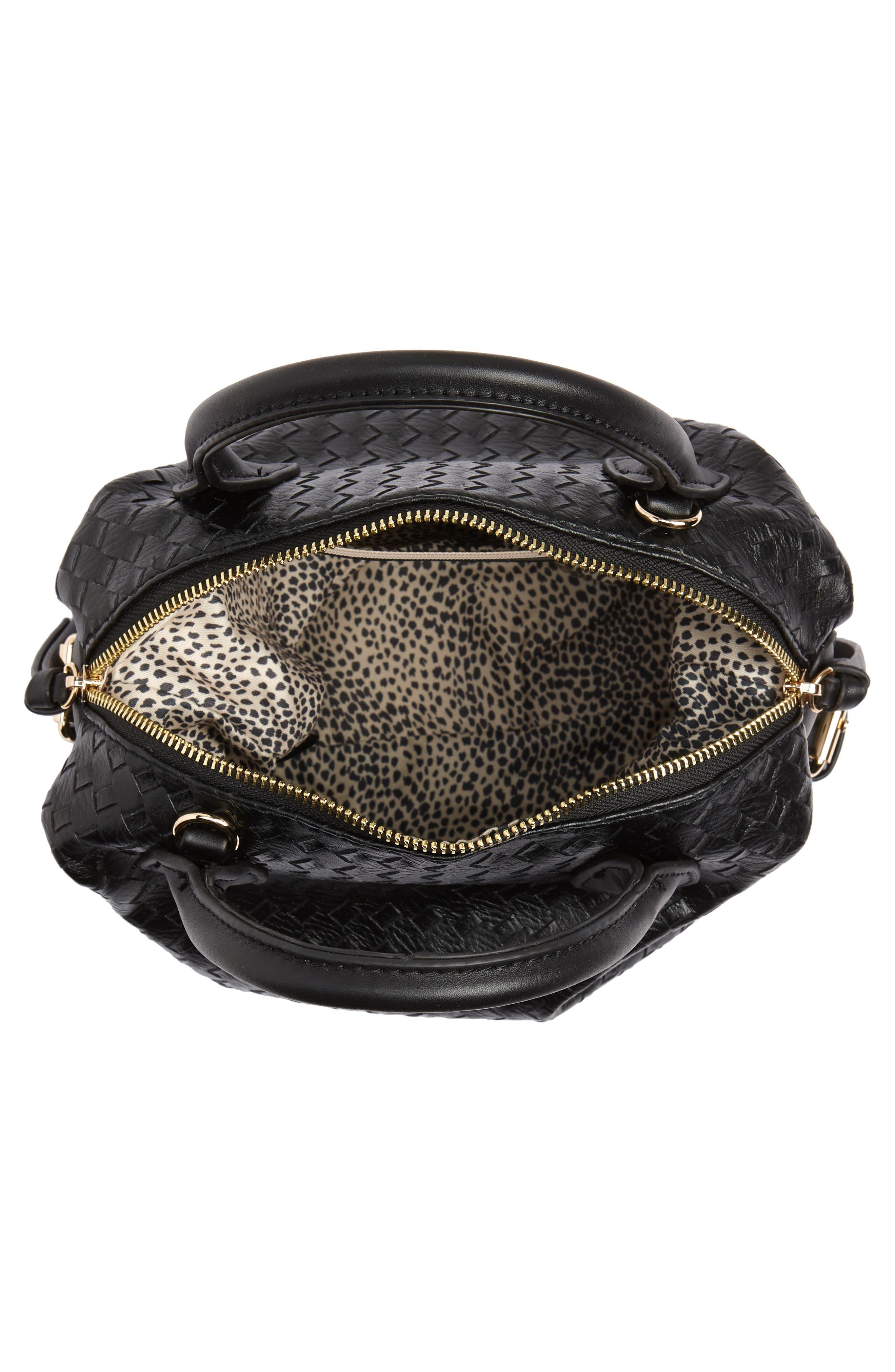 Patrice Woven Faux Leather Mini Satchel,                             Alternate thumbnail 4, color,                             Black