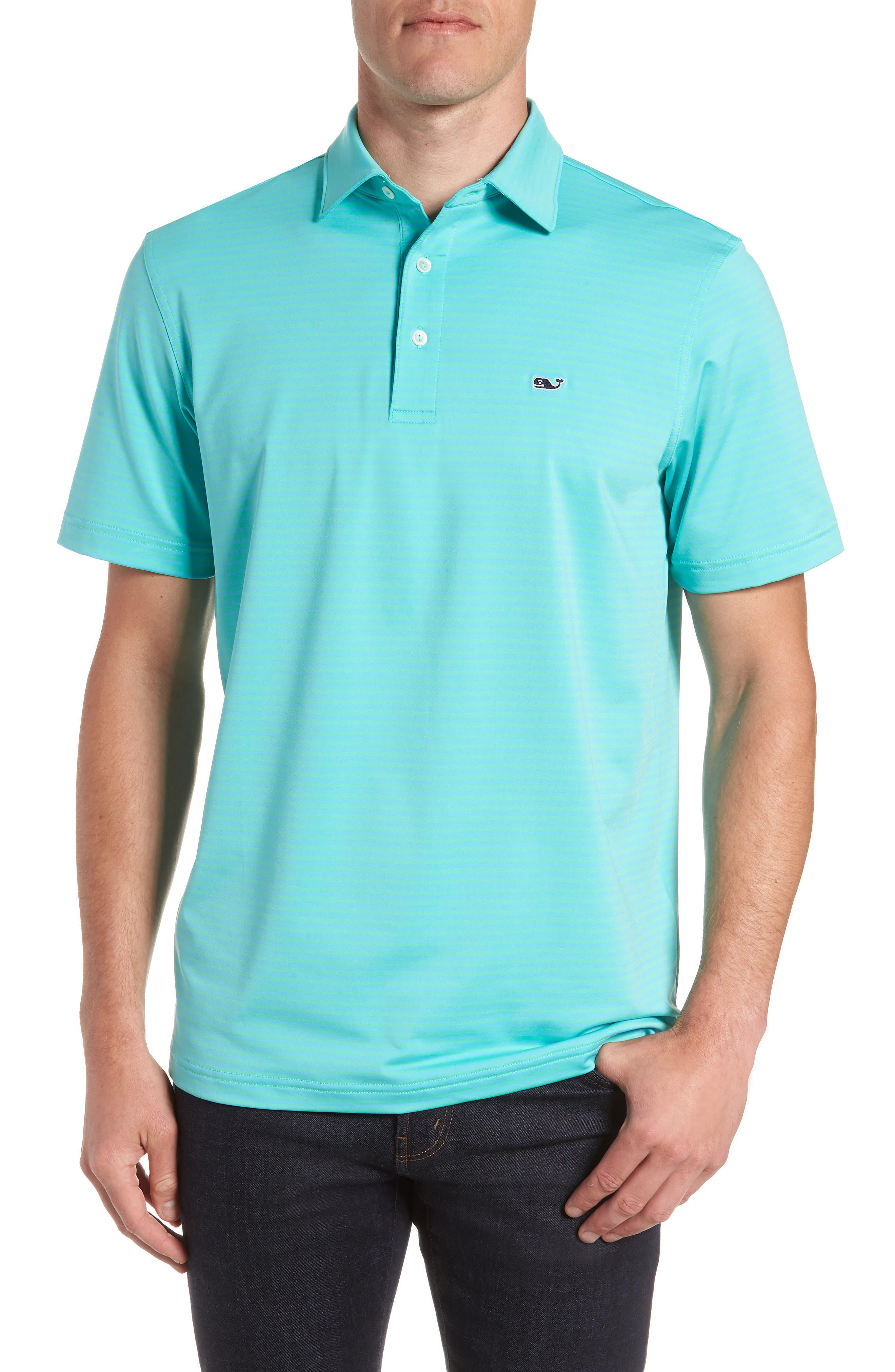 Kennedy Stripe Golf Polo,                             Main thumbnail 1, color,                             Antigua Green