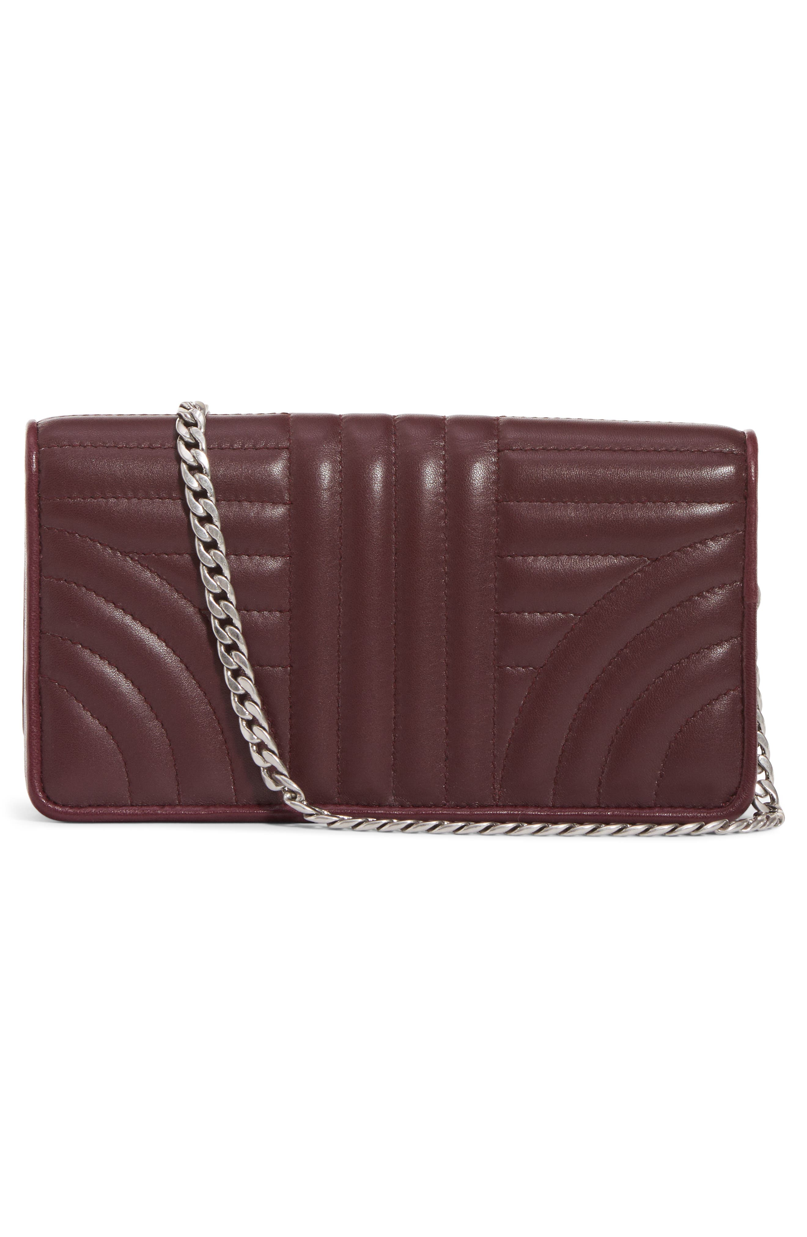 Quilted Leather Wallet on a Chain,                             Alternate thumbnail 2, color,                             Granato