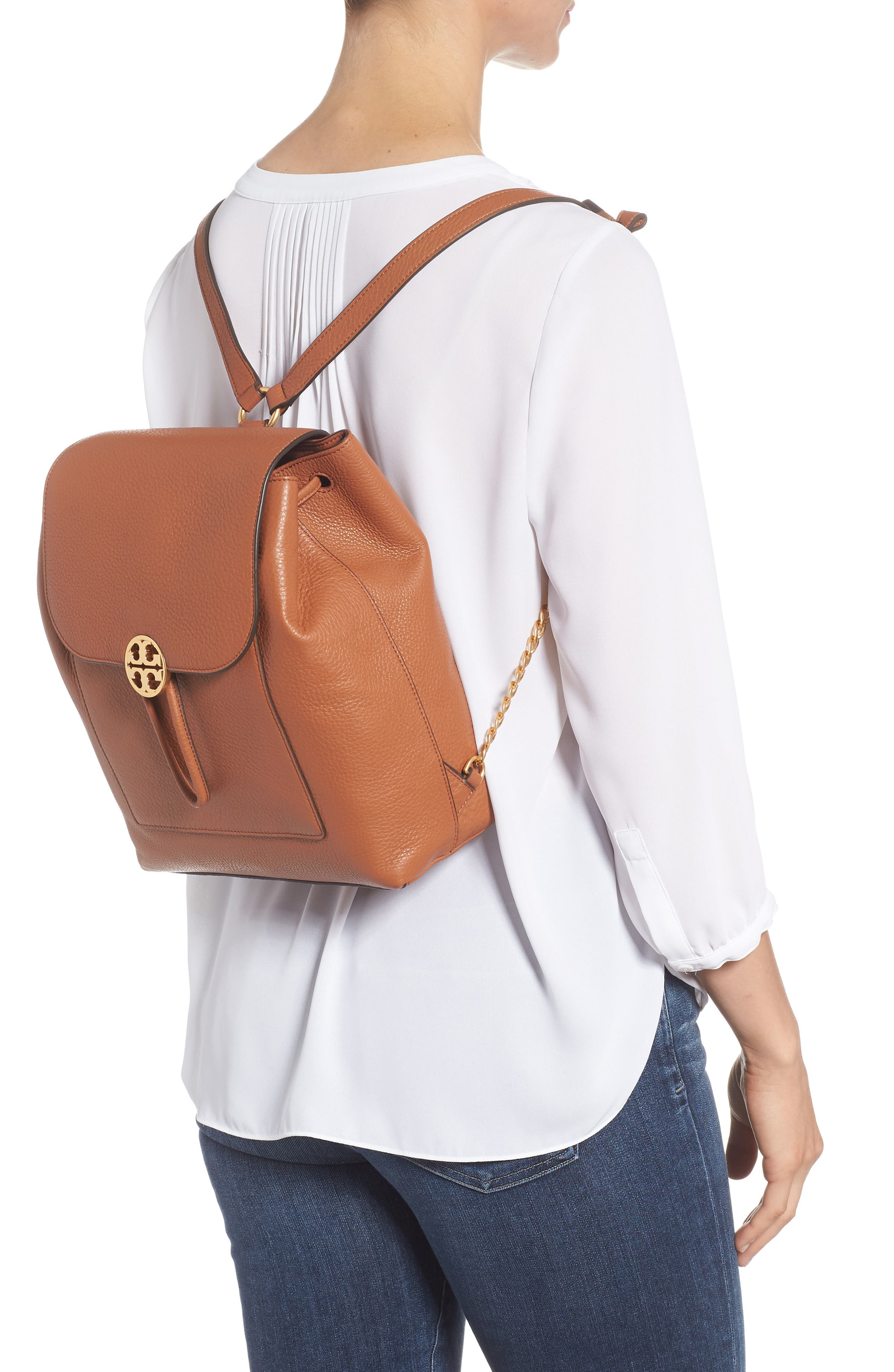 Chelsea Leather Backpack,                             Alternate thumbnail 2, color,                             Classic Tan