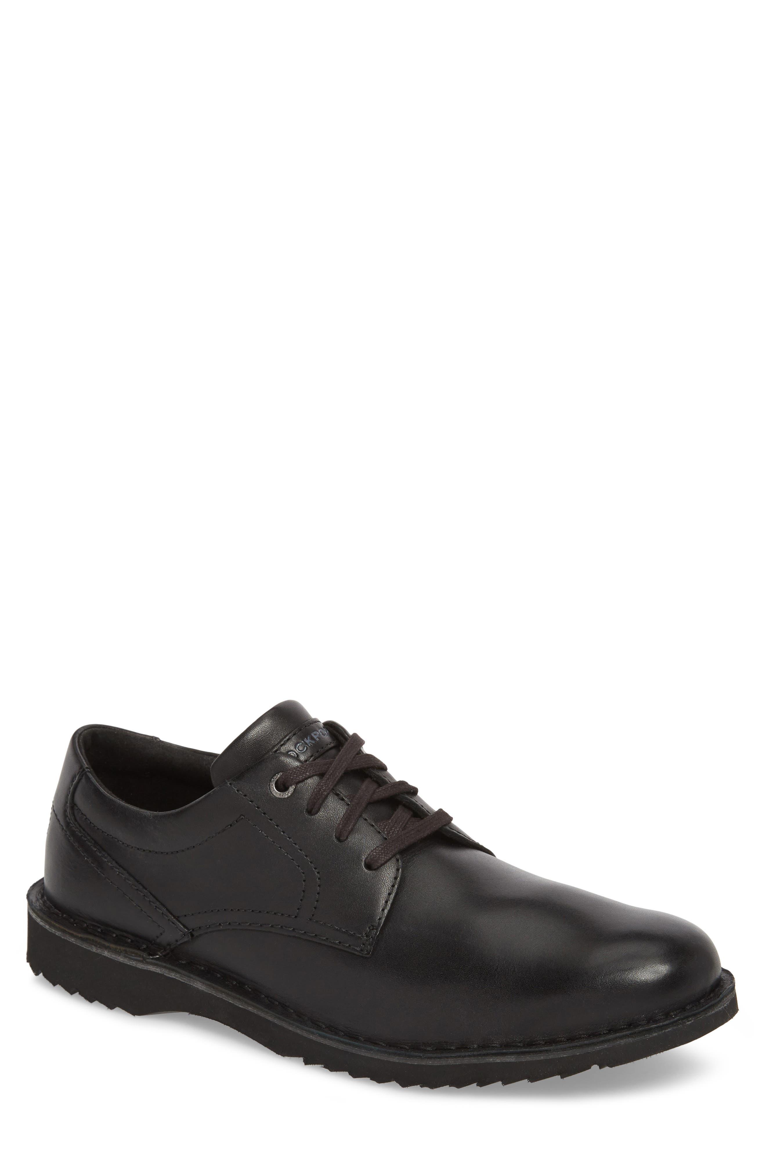 Cabot Plain Toe Derby,                             Main thumbnail 1, color,                             Black Leather
