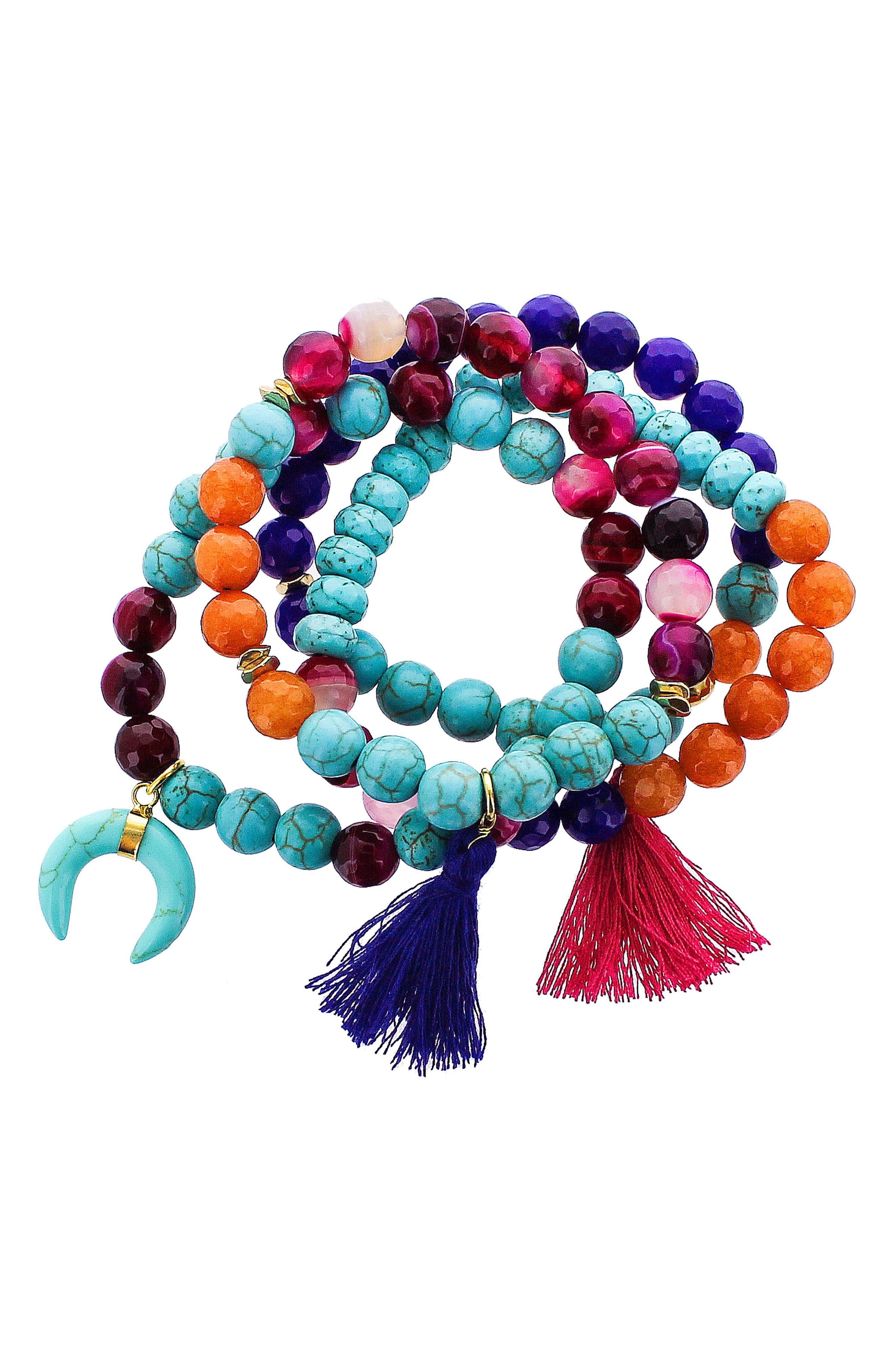 Set of 4 Beaded Stretch Bracelets,                             Main thumbnail 1, color,                             Turquoise/ Multi