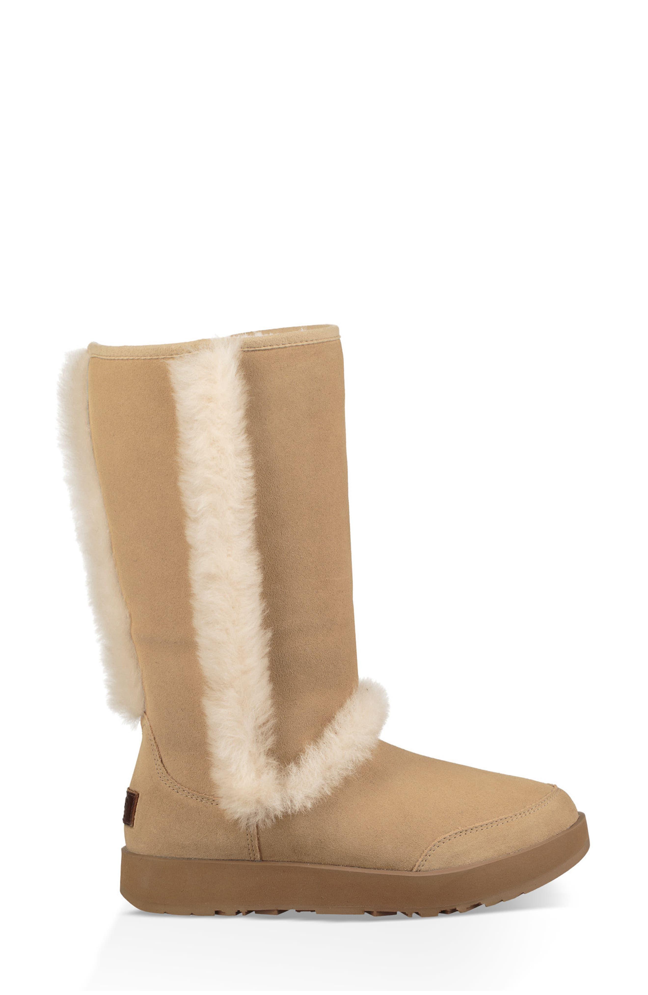 Sundance Genuine Shearling Waterproof Boot,                             Alternate thumbnail 4, color,                             Sand Suede