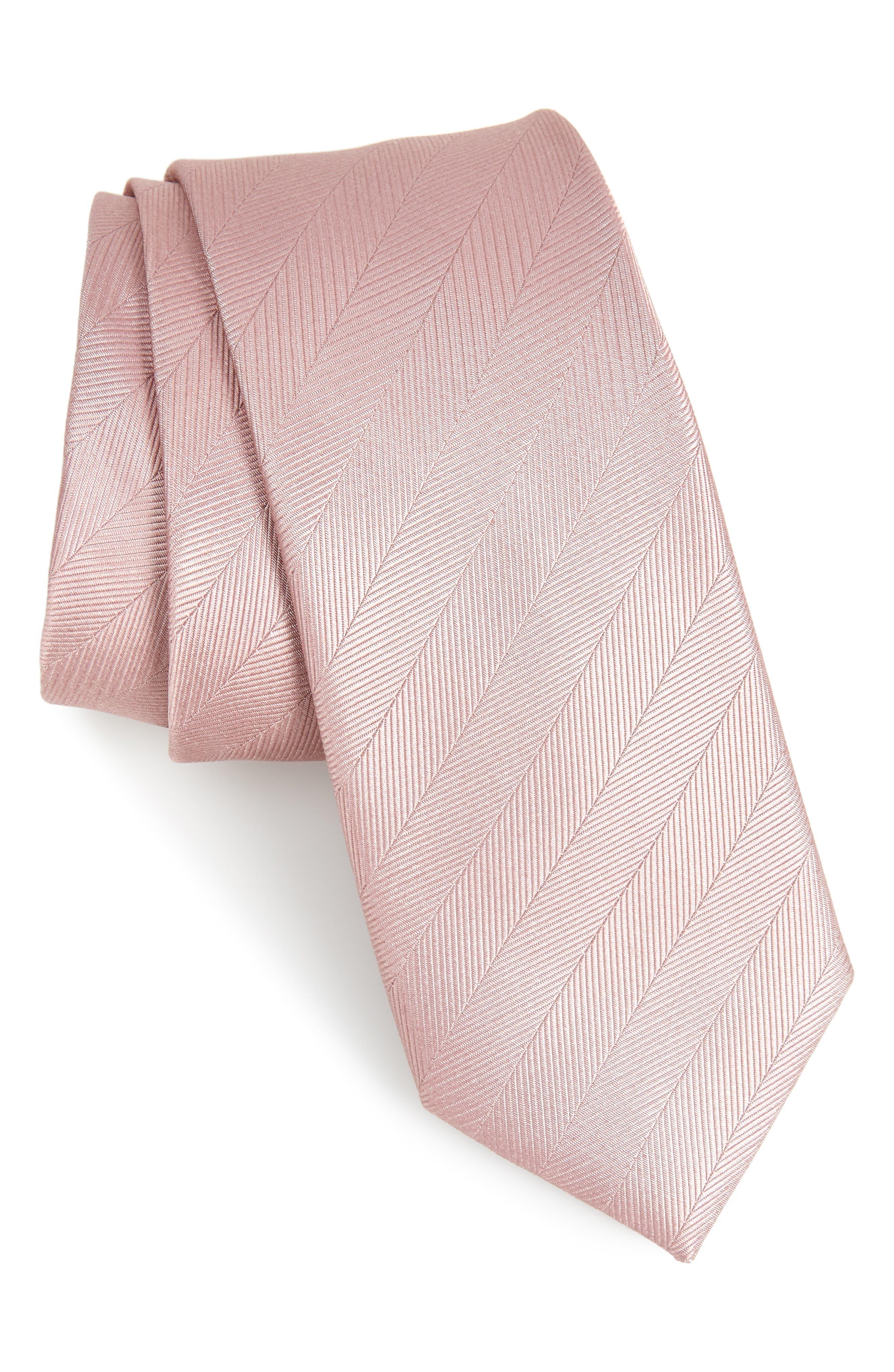 Herringbone Vow Silk Tie,                         Main,                         color, Dusty Lavender