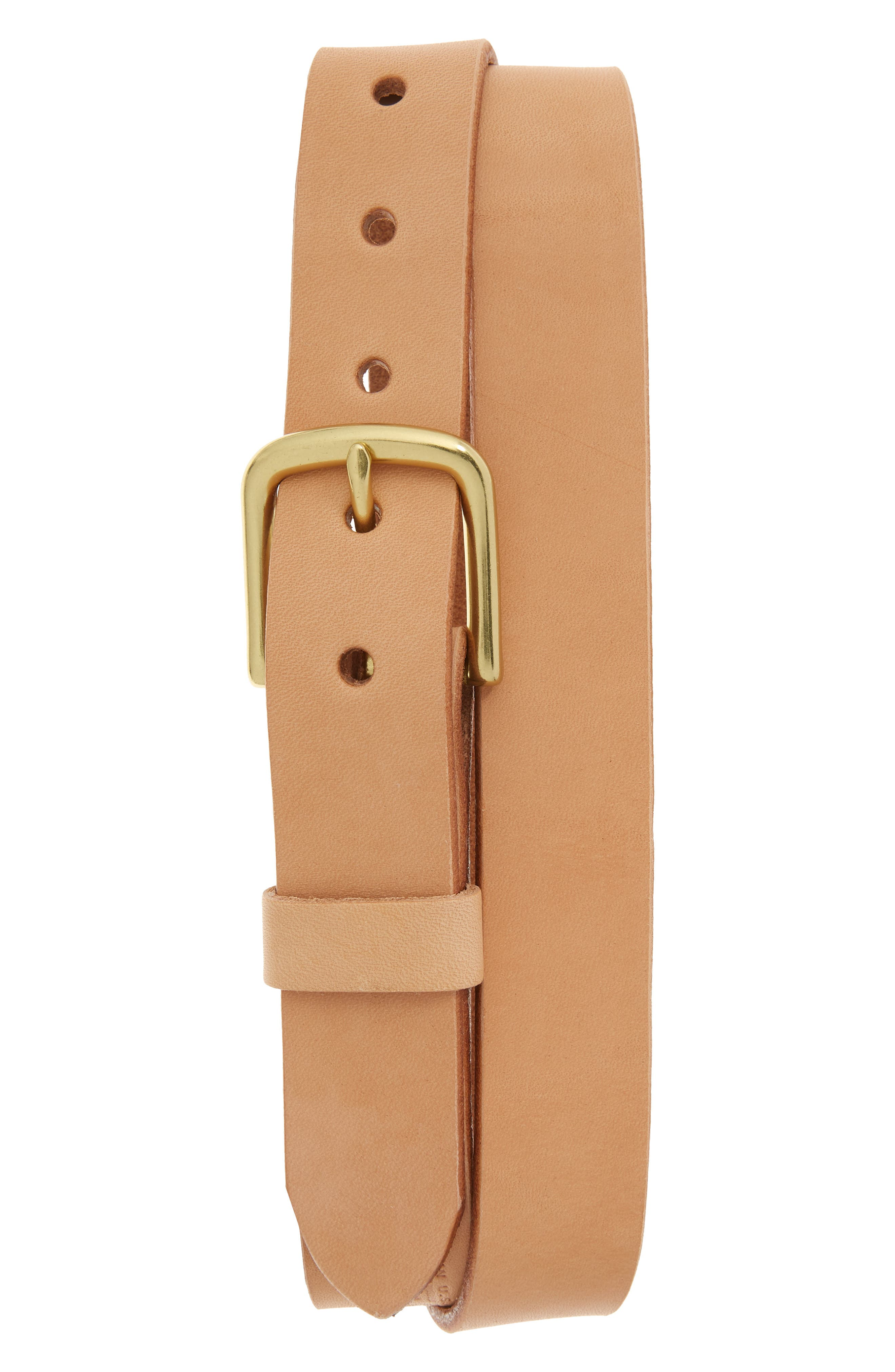 Classic Leather Belt,                             Main thumbnail 1, color,                             Natural/ Brass