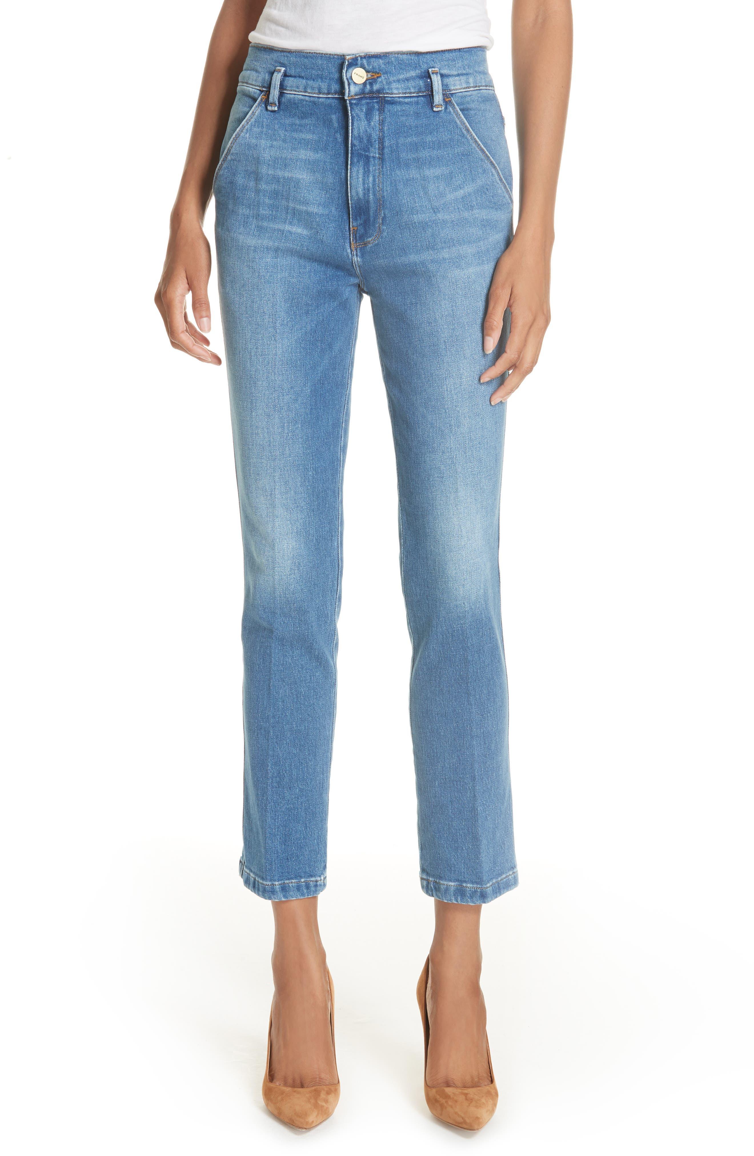Le Slender Straight Leg Jeans,                             Main thumbnail 1, color,                             Thistle