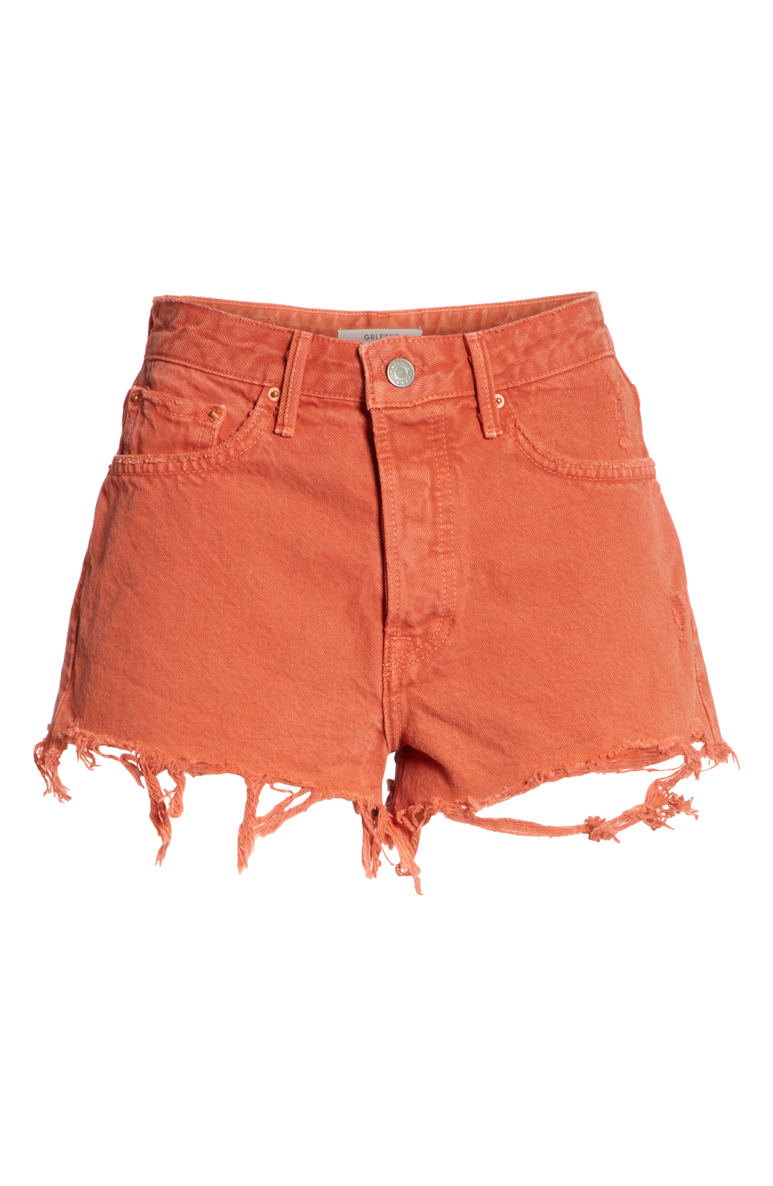 Cindy Rigid High Waist Denim Shorts,                             Alternate thumbnail 6, color,                             Spice Market
