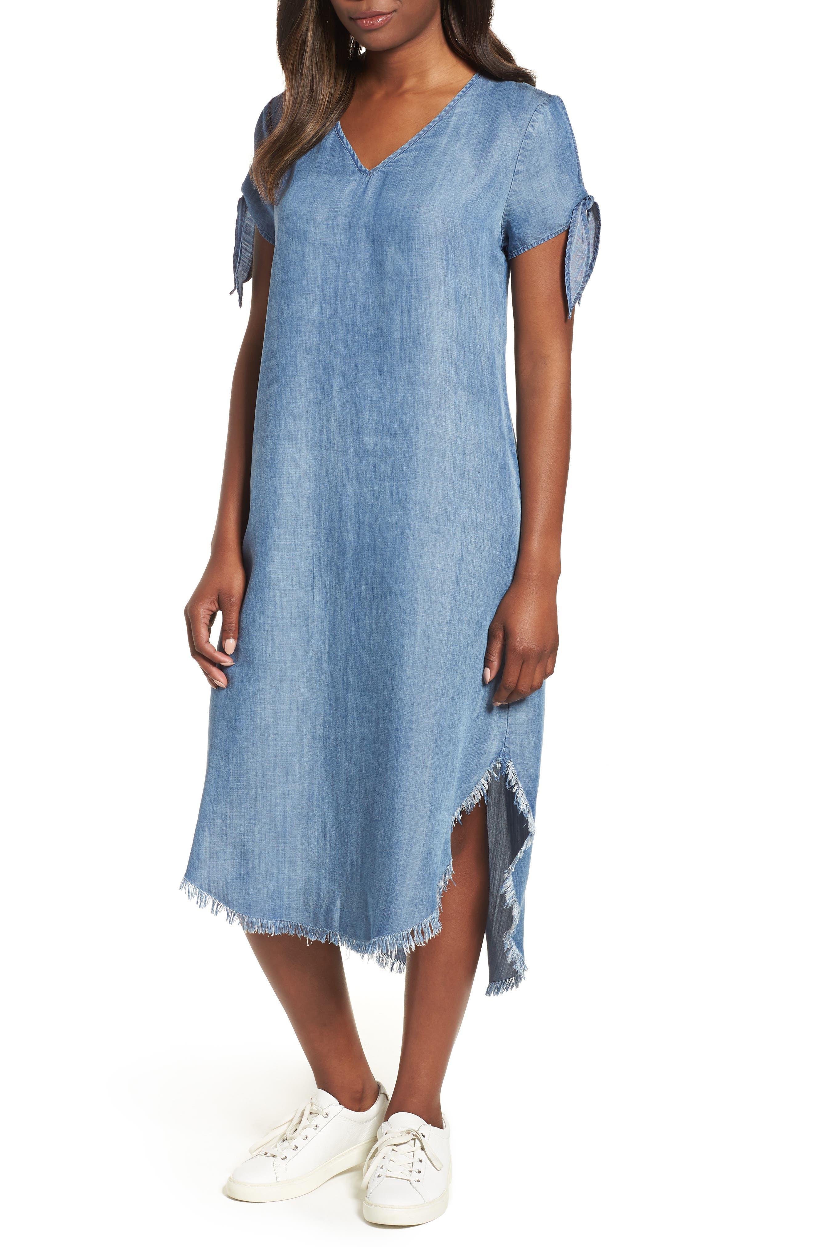 BILLY T TIE SLEEVE CHAMBRAY SHIFT DRESS