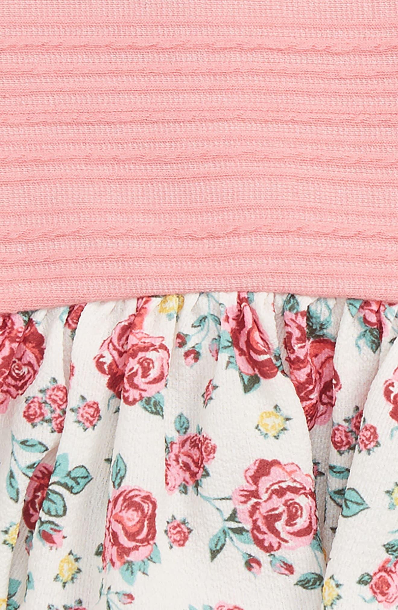 Floral Peplum Dress & Leggings Set,                             Alternate thumbnail 2, color,                             Pink