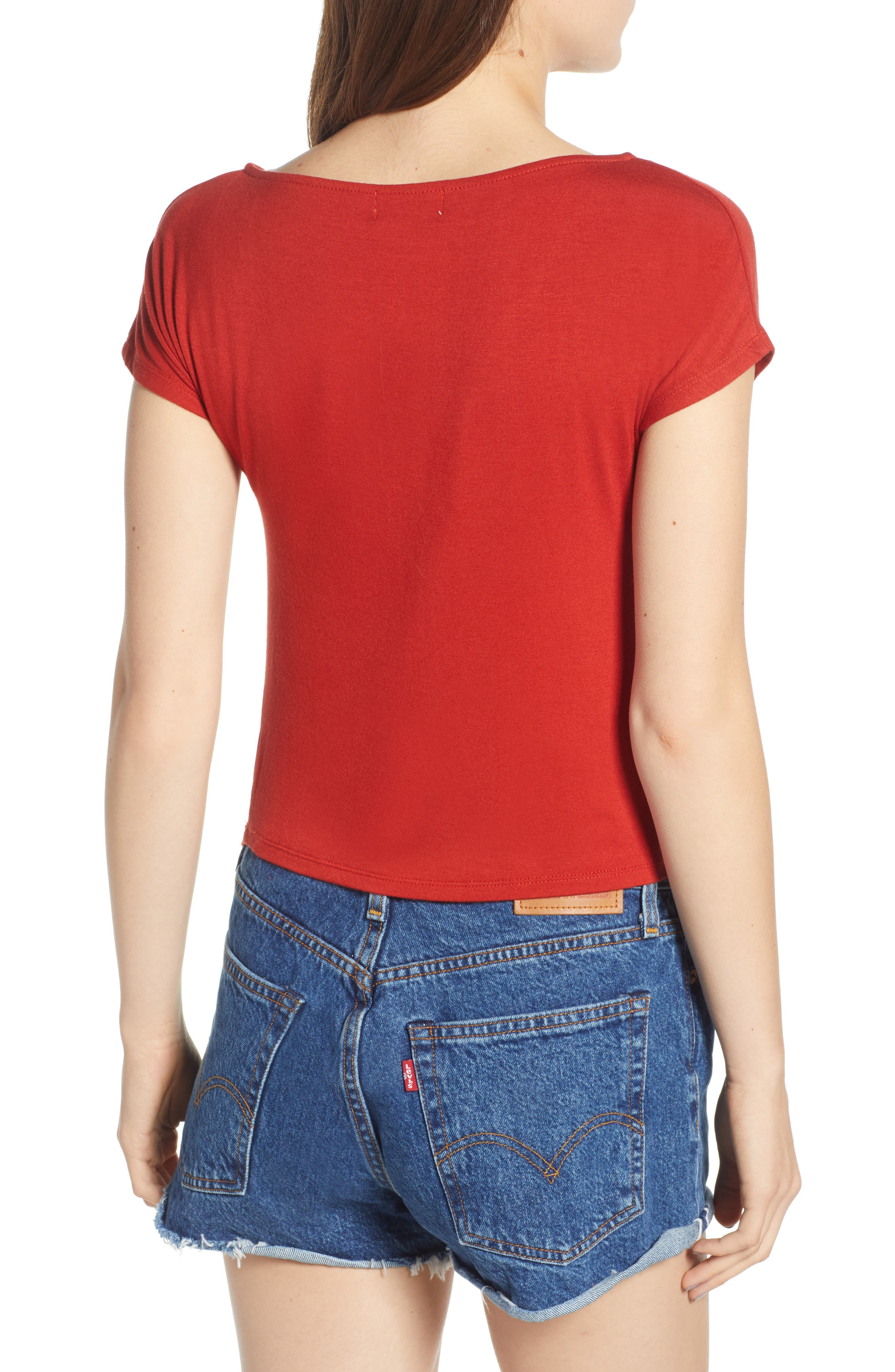 Cinch Front Tee,                             Alternate thumbnail 2, color,                             Red
