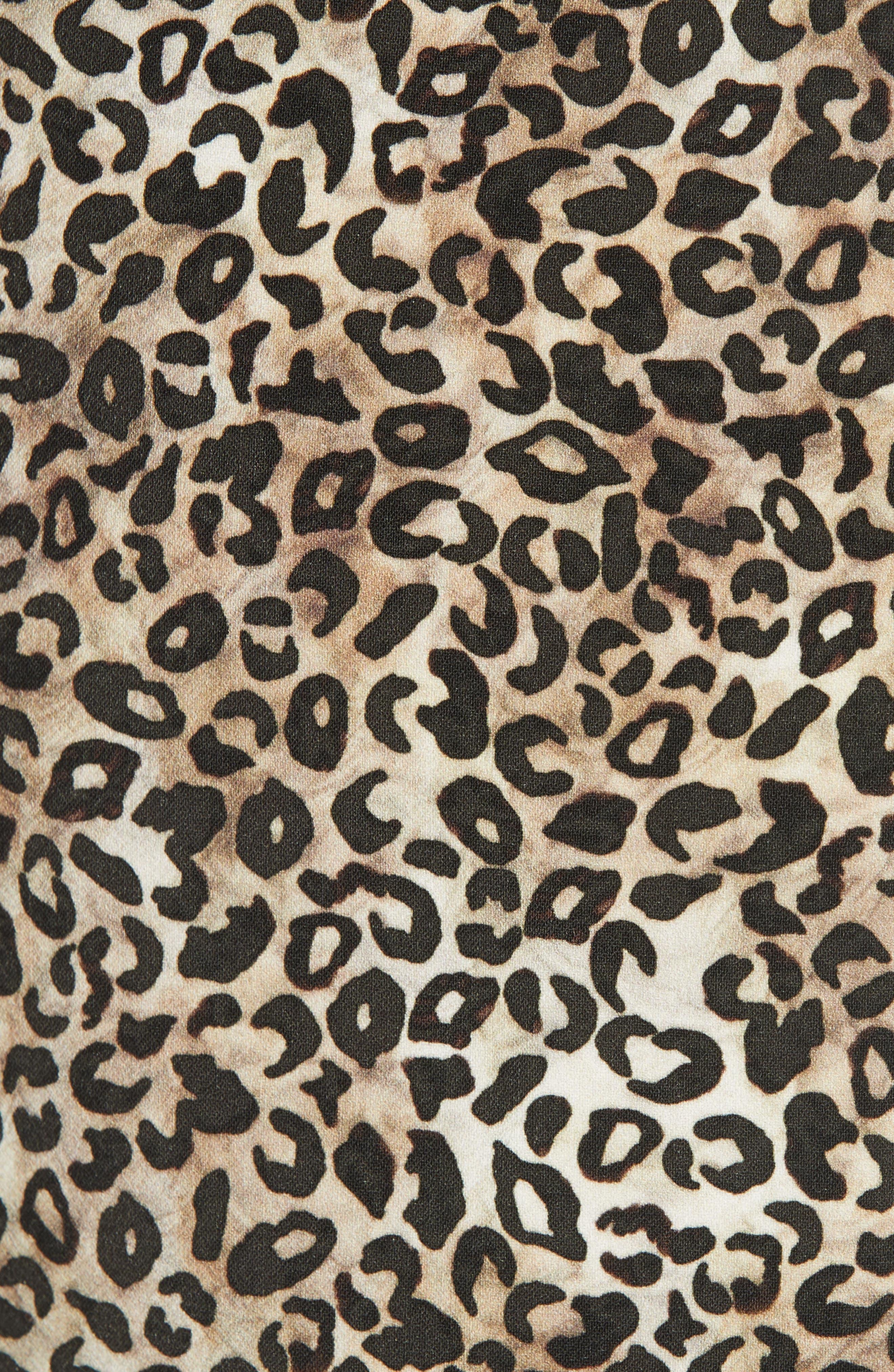 Celia Floral Print Dress,                             Alternate thumbnail 5, color,                             True Leopard