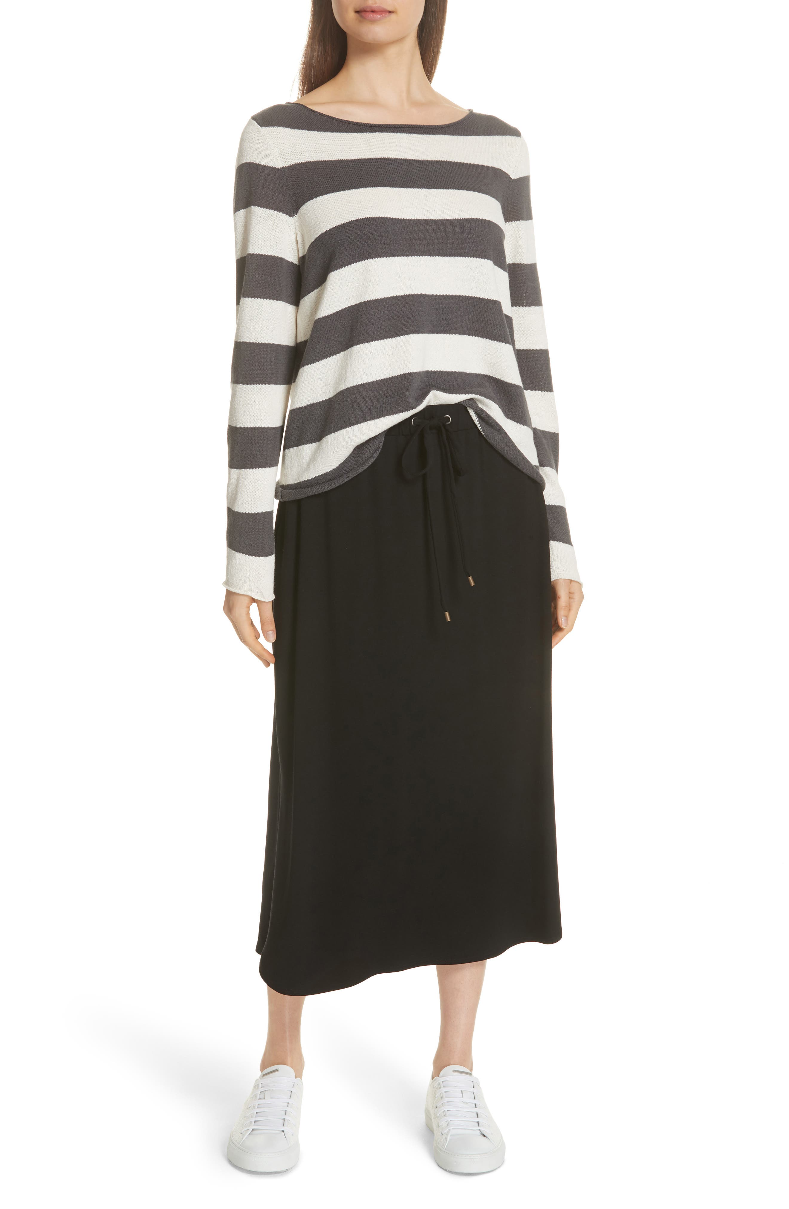 Drawstring Skirt,                             Alternate thumbnail 6, color,                             Black