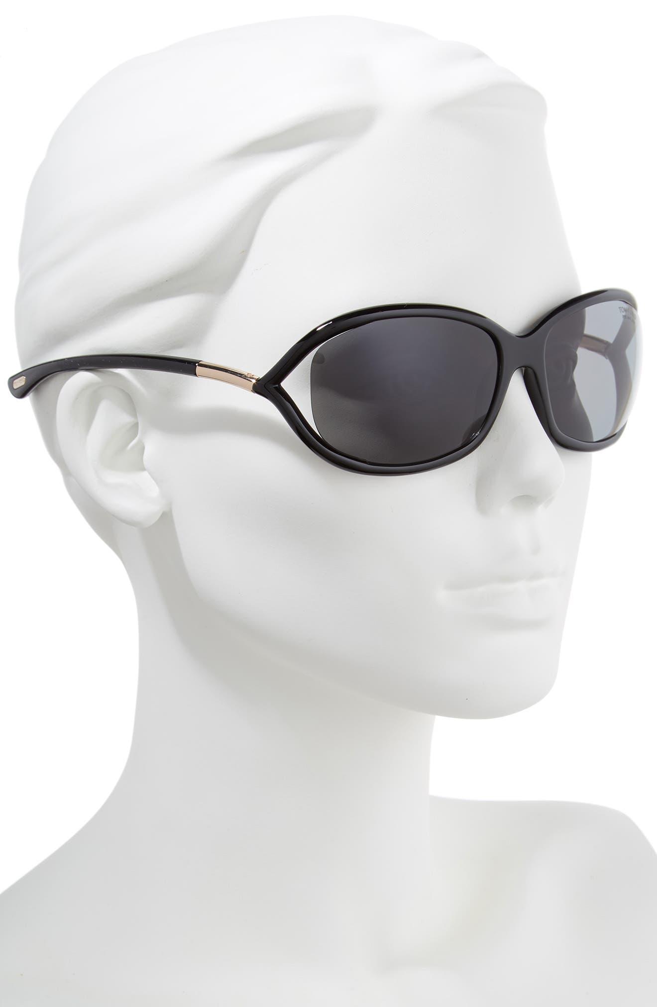 Jennifer 61mm Polarized Open Temple Sunglasses,                             Alternate thumbnail 2, color,                             Shiny Black/ Grey Polarized