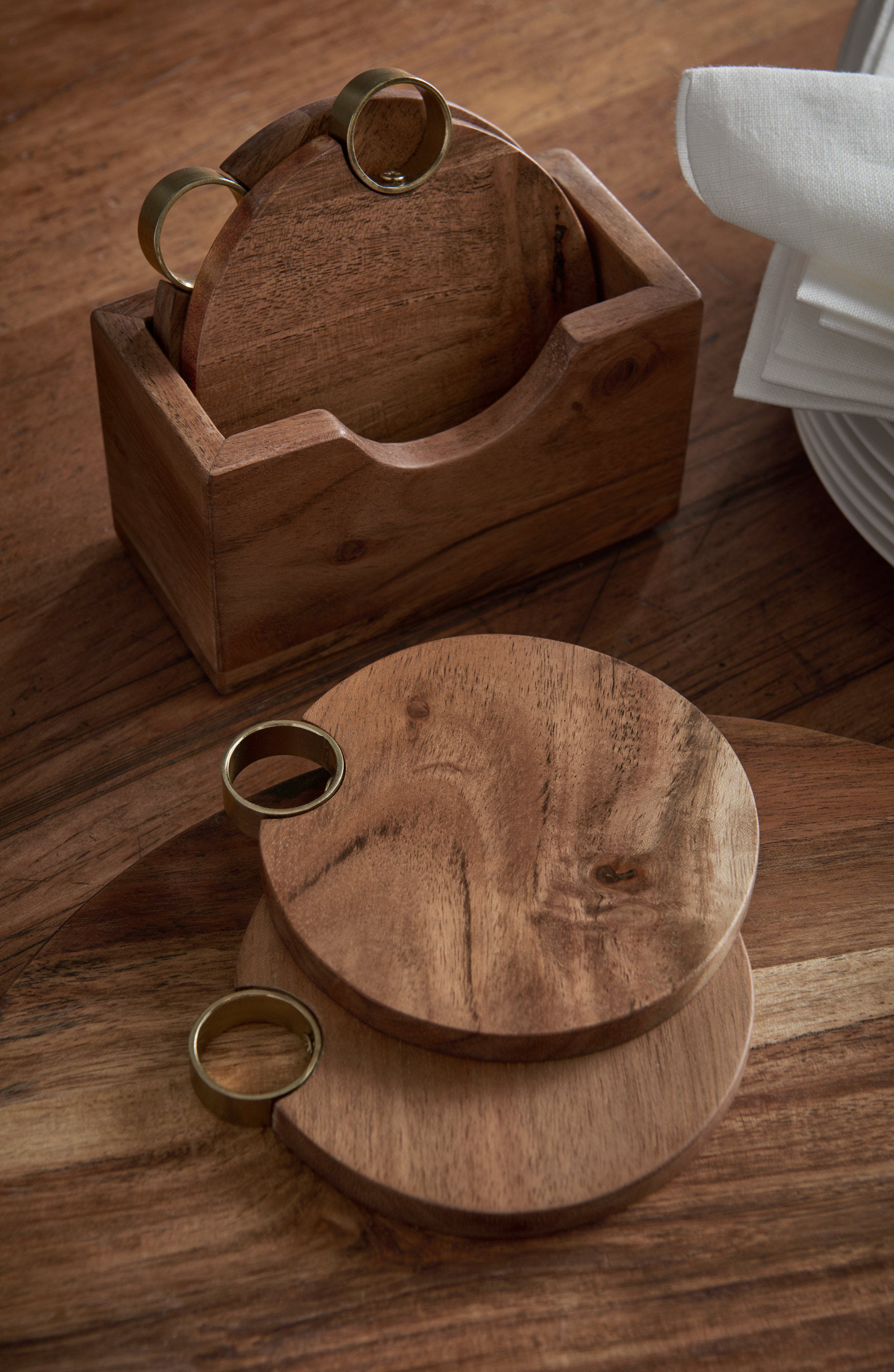 5-Piece Acacia Wood Coaster Set,                             Alternate thumbnail 2, color,