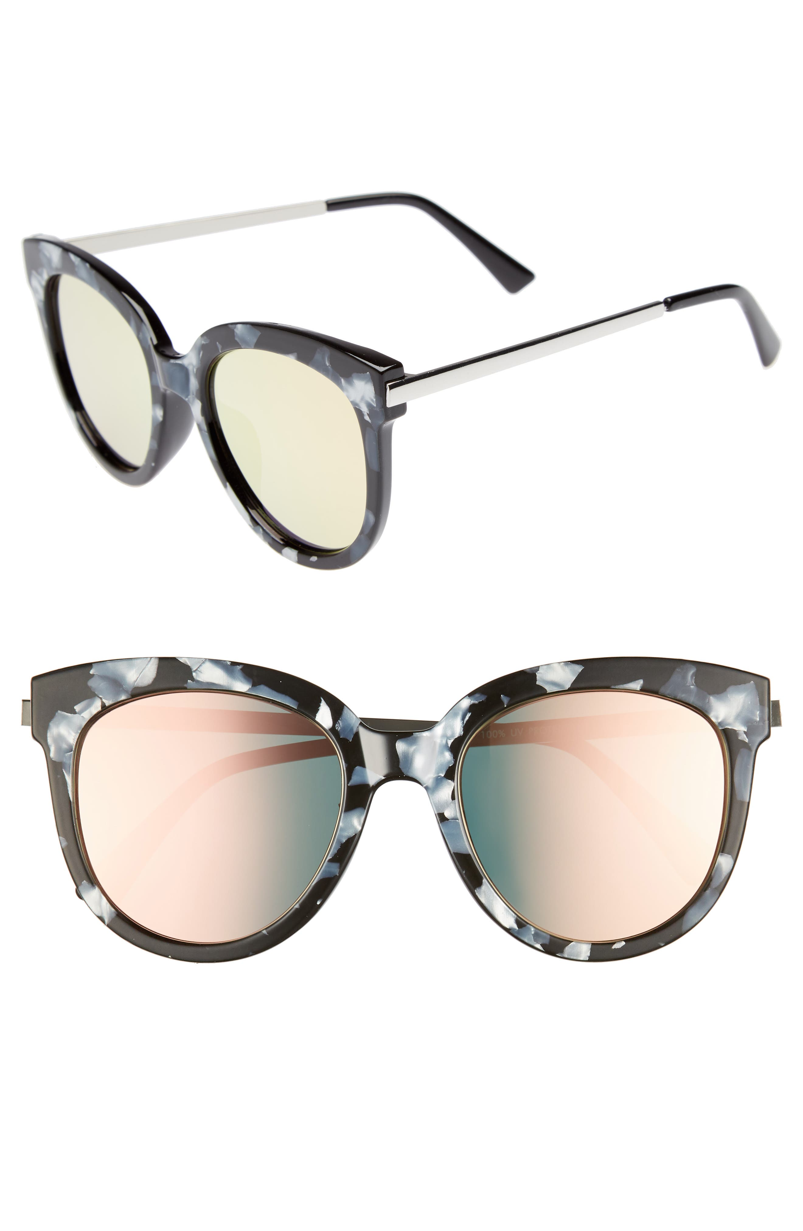 50mm Flat Cat Eye Sunglasses,                             Main thumbnail 1, color,                             Black Acide Pink