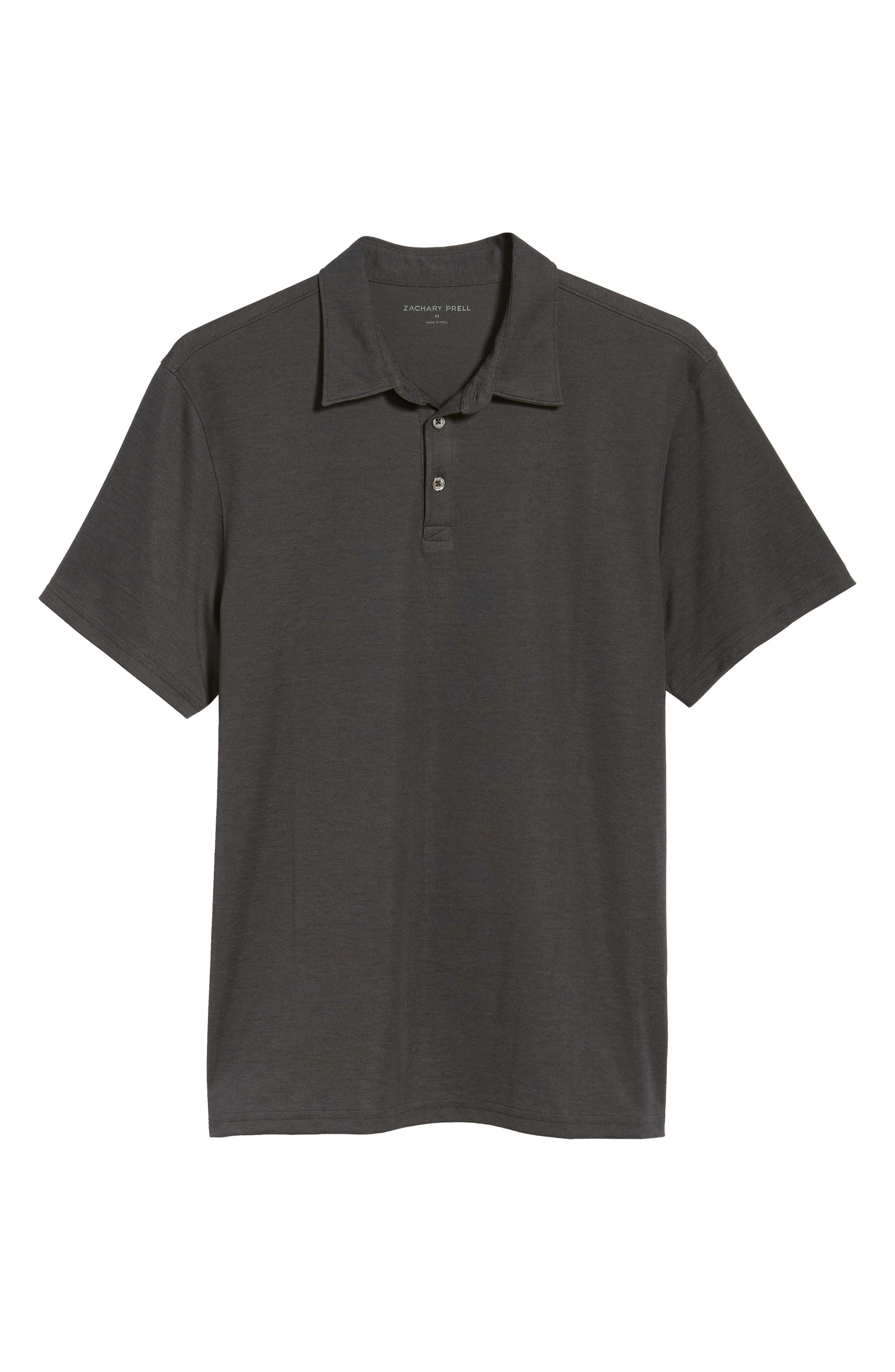 Caldwell Piqué Trim Fit Polo,                             Alternate thumbnail 6, color,                             Black