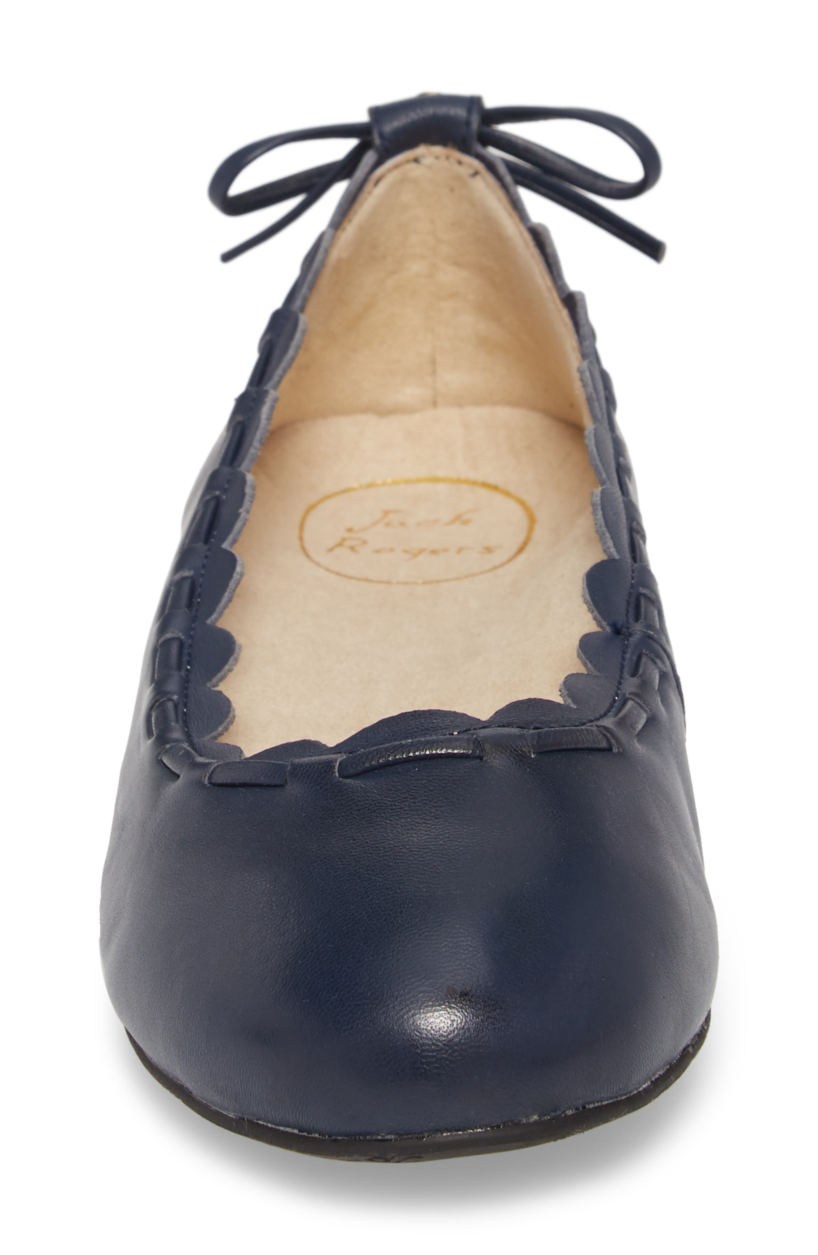 Lucie II Scalloped Flat,                             Alternate thumbnail 4, color,                             Midnight Blue Leather
