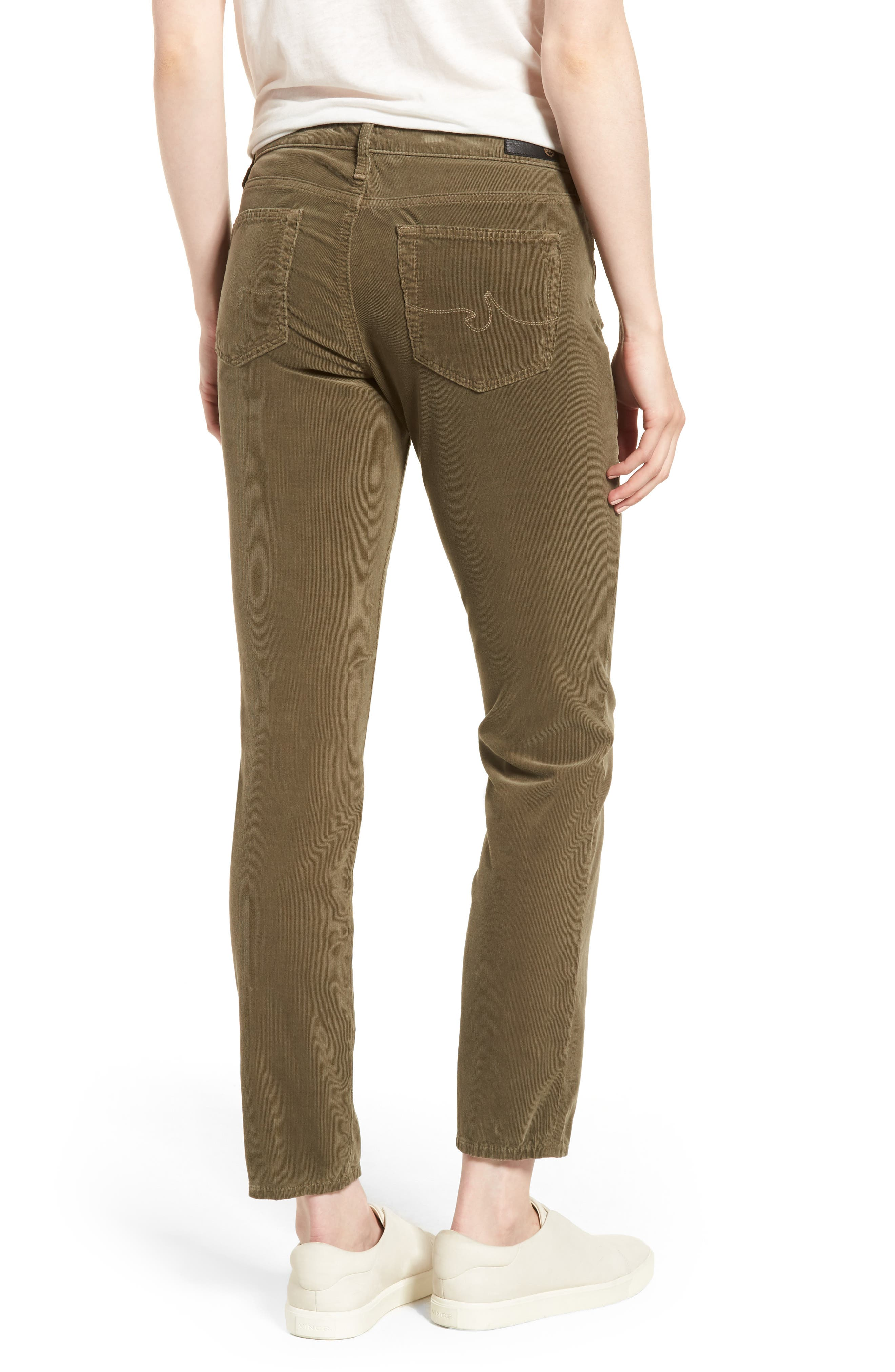 'Prima' Corduroy Skinny Pants,                             Alternate thumbnail 2, color,                             Dried Agave