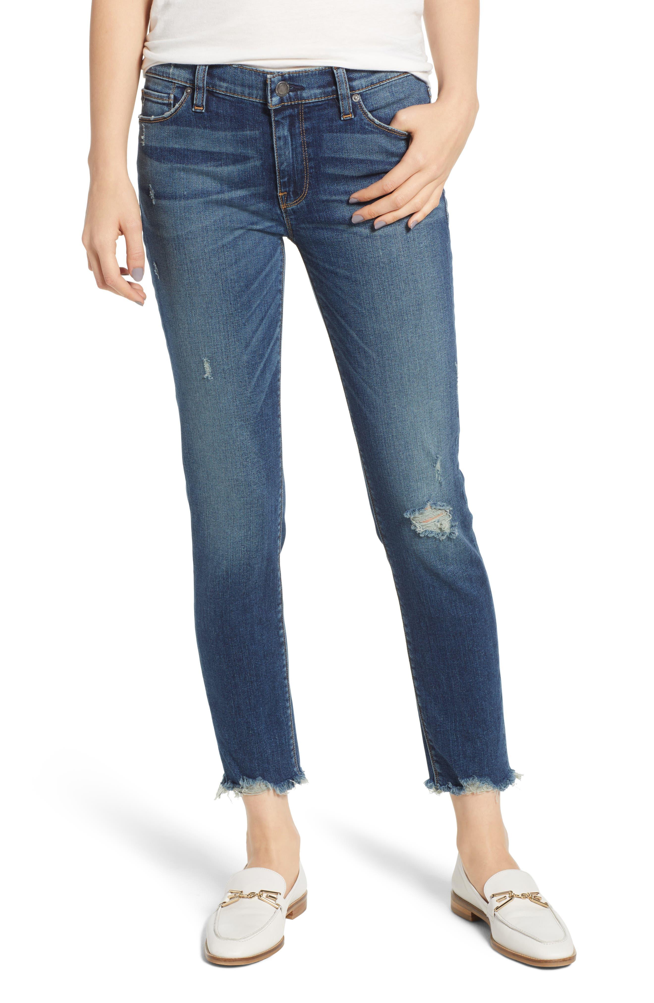 Tally Unfamed Hem Skinny Jeans,                         Main,                         color, Side Bar W/ Raw Hem