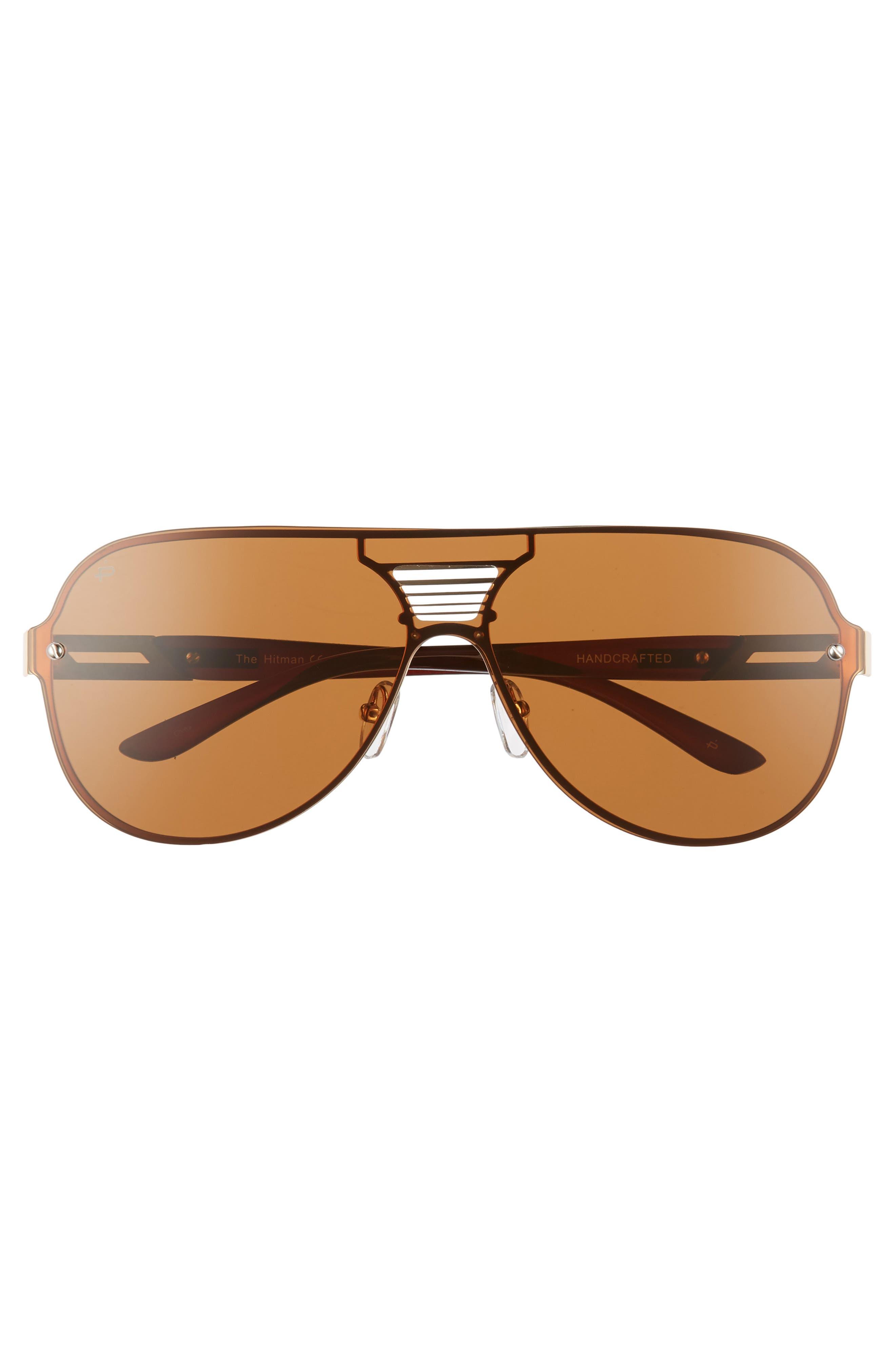 Privé Revaux The Hitman 63mm Polarized Oversize Aviator Sunglasses,                             Alternate thumbnail 2, color,                             Brown