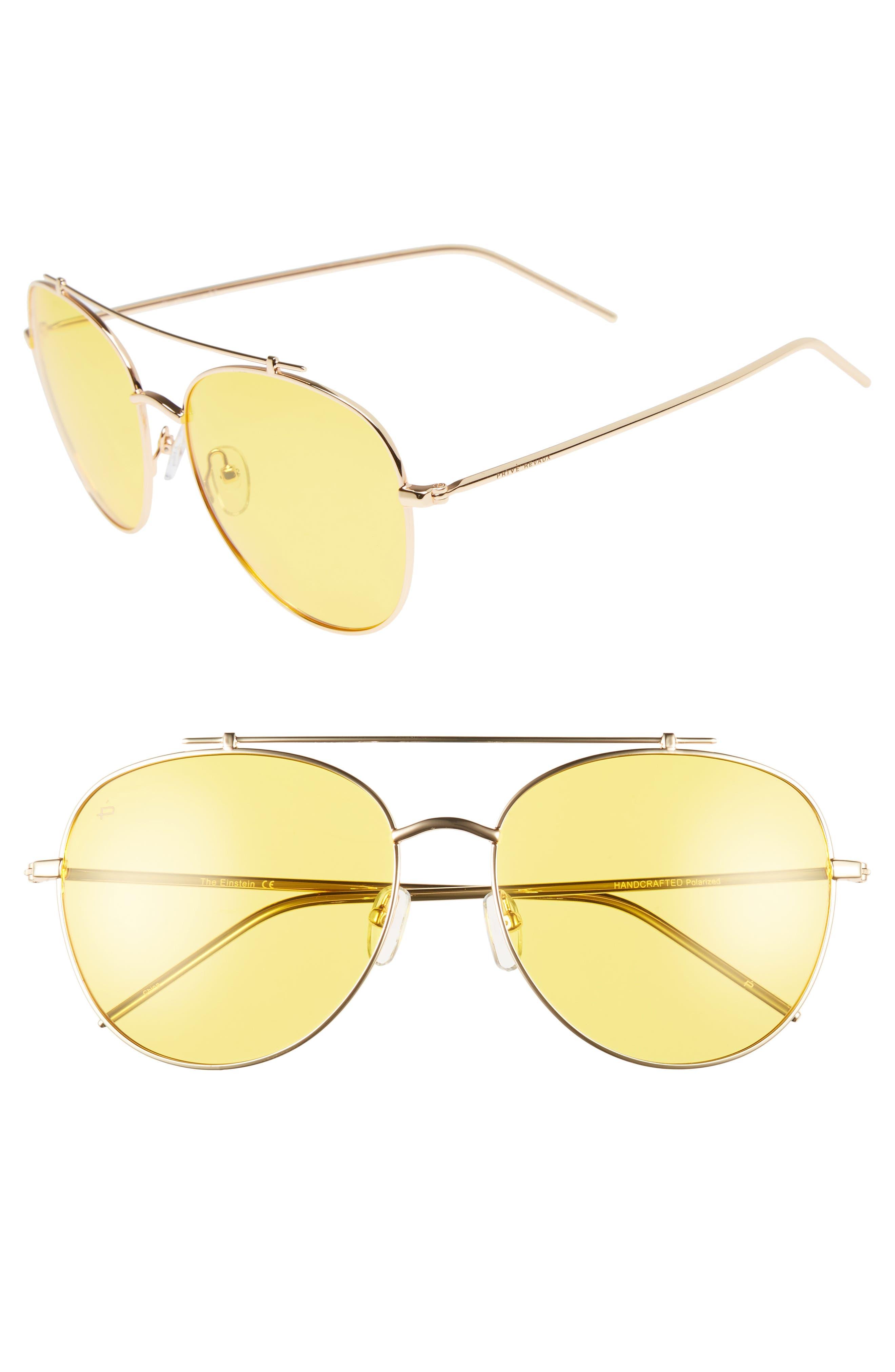 Privé Revaux The Einstein 58mm Polarized Aviator Sunglasses,                             Main thumbnail 1, color,                             Yellow