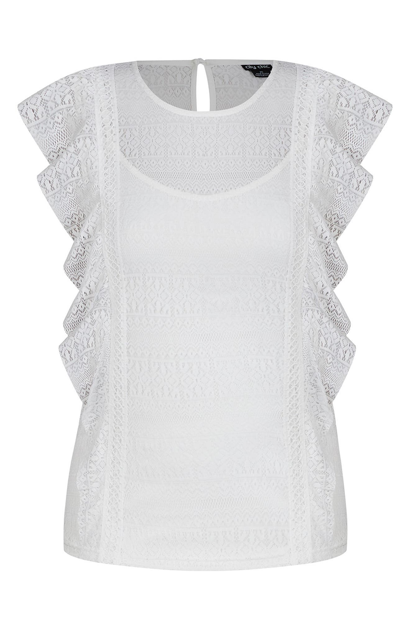 Dreamy Lace Top,                             Alternate thumbnail 4, color,                             Ivory