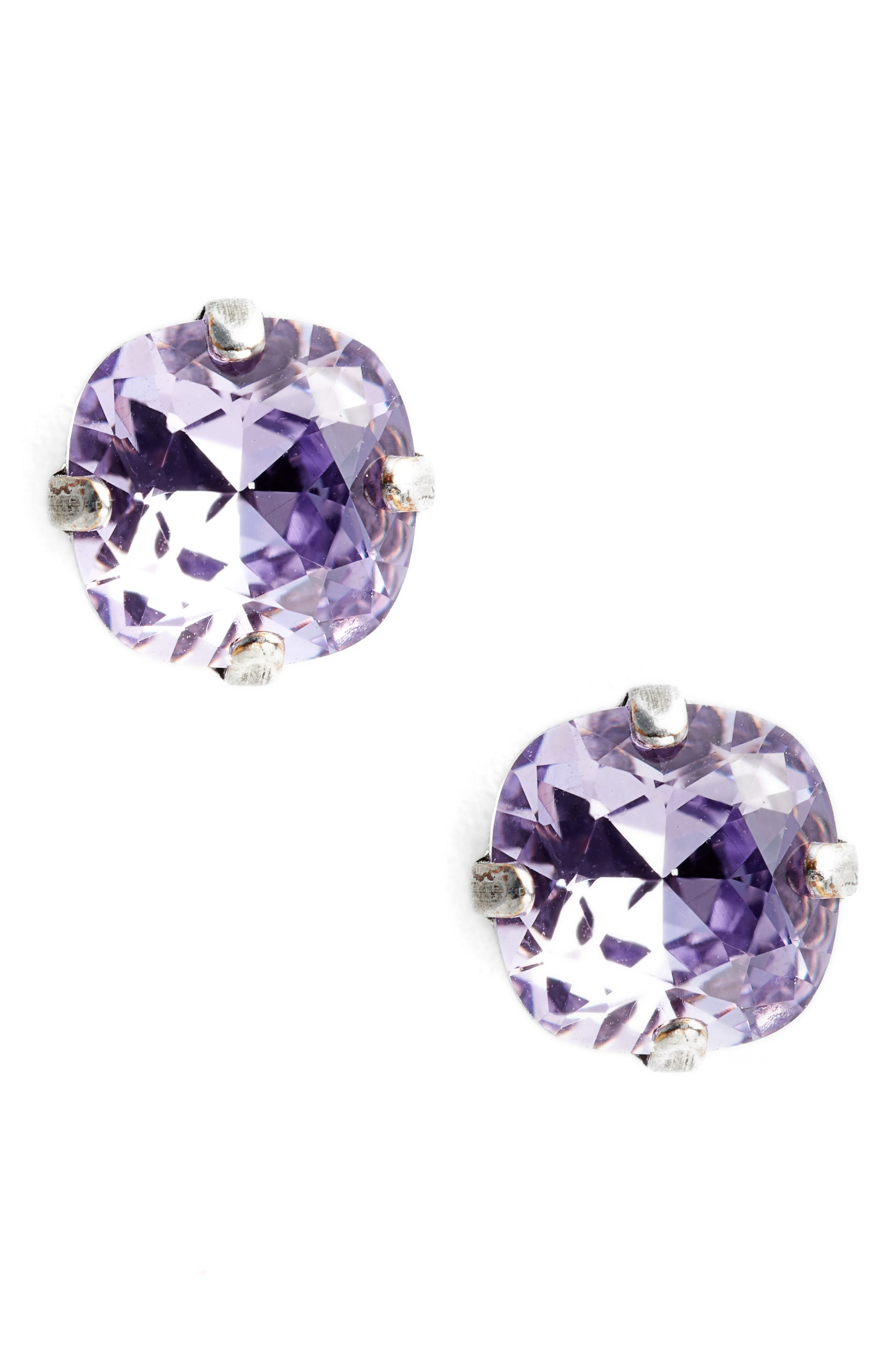 One & Only Crystal Earrings,                         Main,                         color, Purple