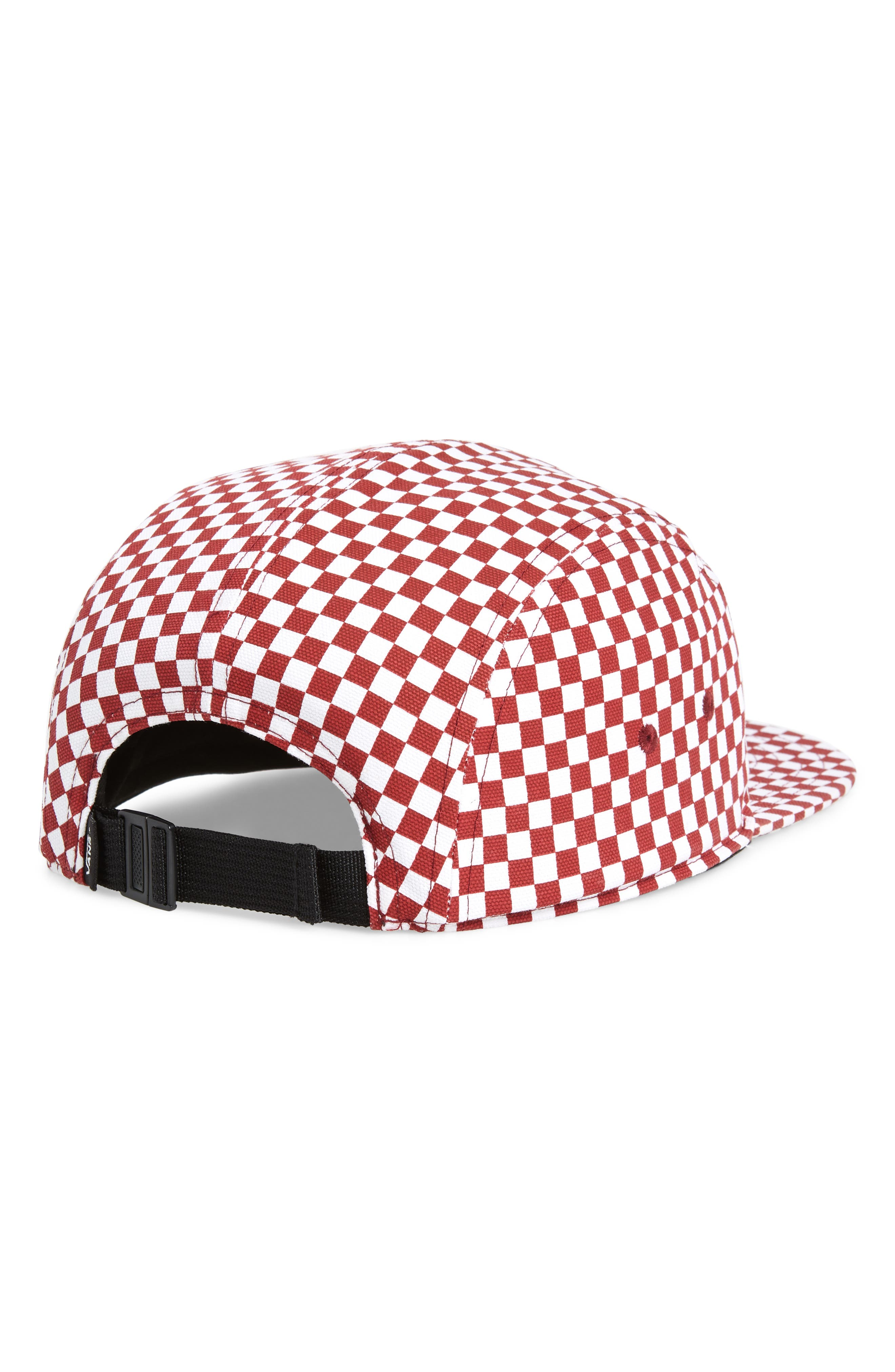 David Five Panel Cap,                             Alternate thumbnail 2, color,                             Red/ White Check