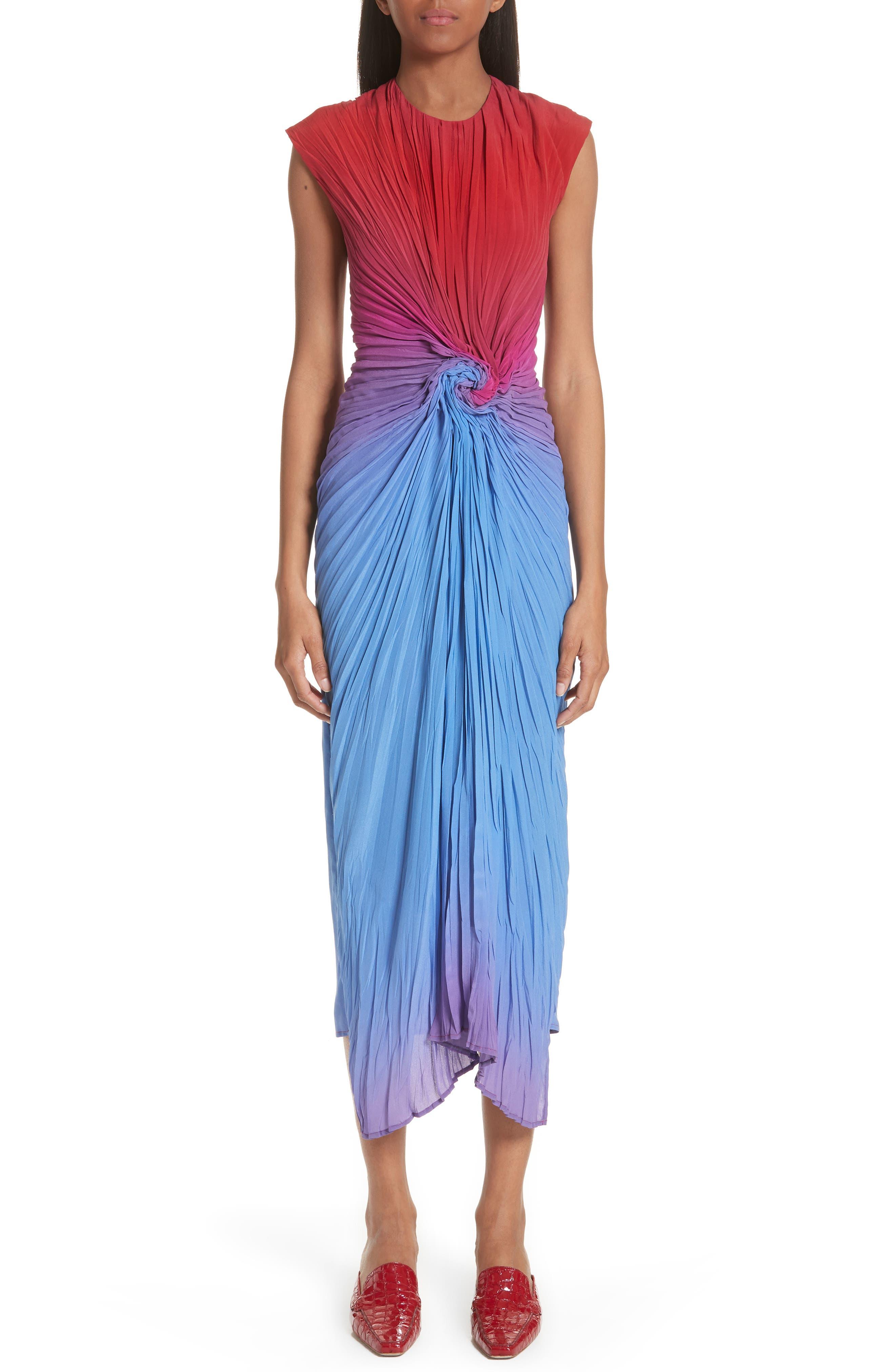 Twist Front Dégradé Silk Dress,                             Main thumbnail 1, color,                             Dusty Blue/ Lipstick