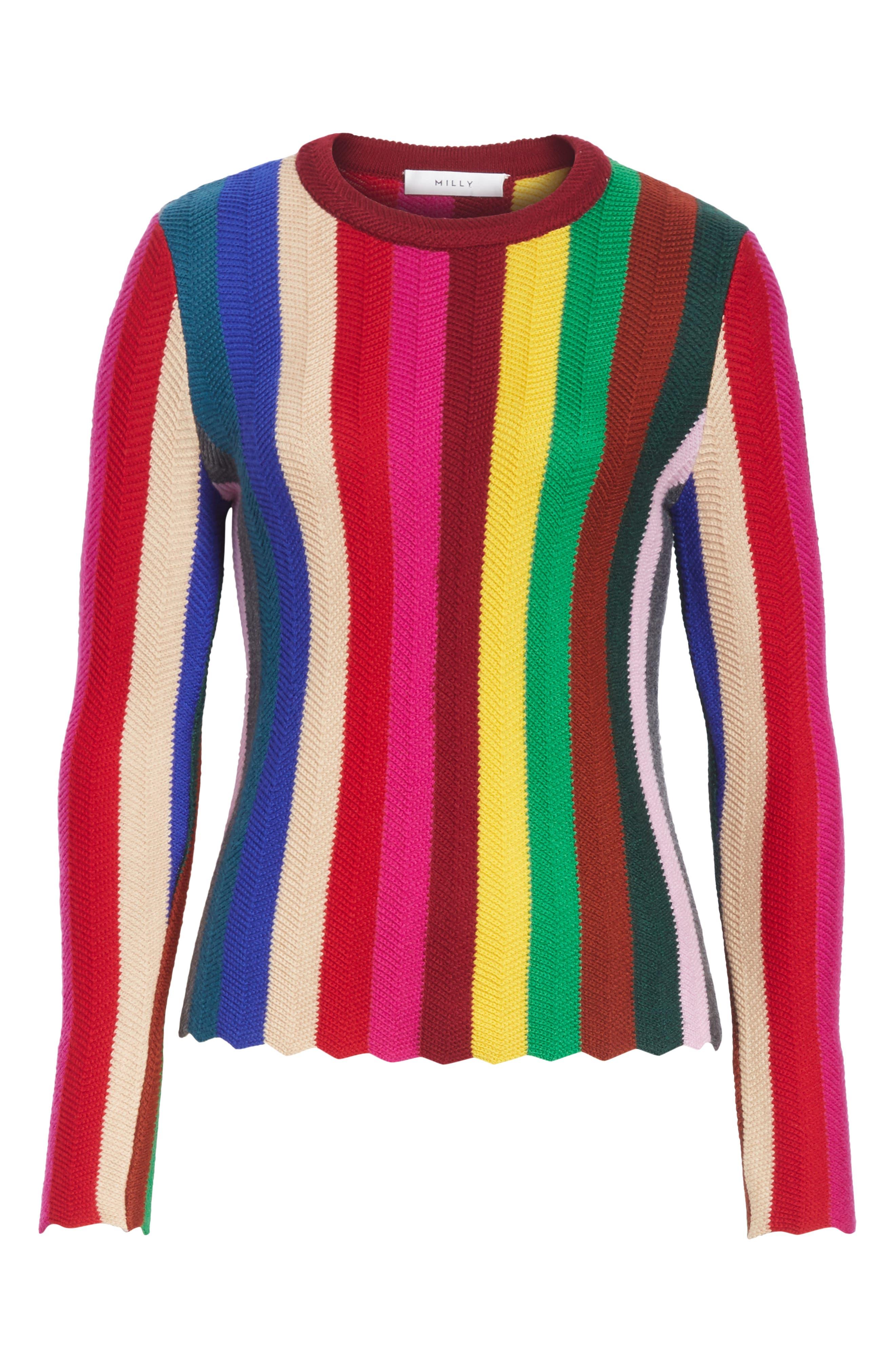 Chevron Vertical Stripe Wool Blend Scallop Hem Sweater,                             Alternate thumbnail 7, color,                             Rainbow Multi