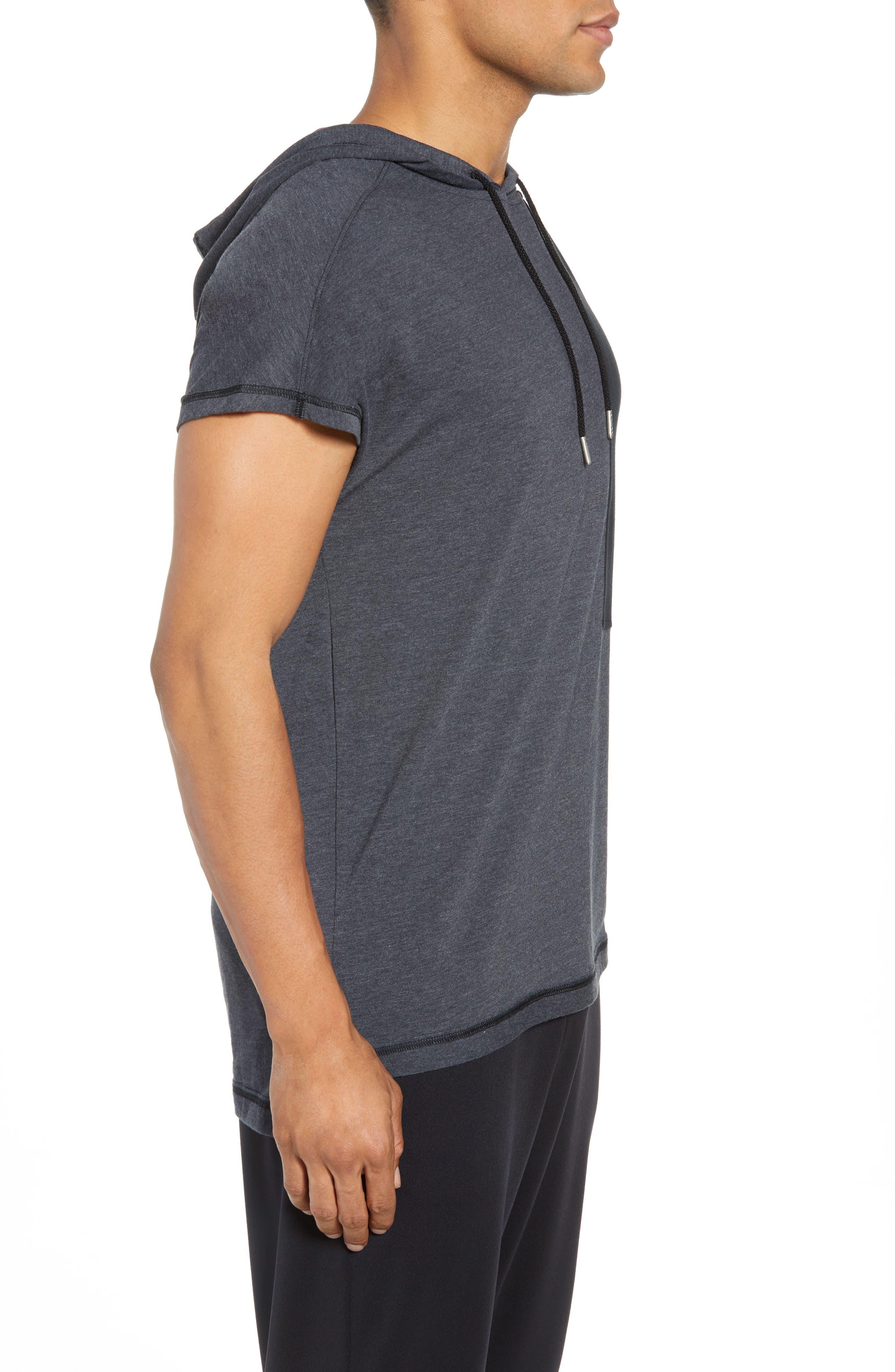 Pursuit Short Sleeve Hoodie,                             Alternate thumbnail 3, color,                             Black/ Black/ Stealth Gray