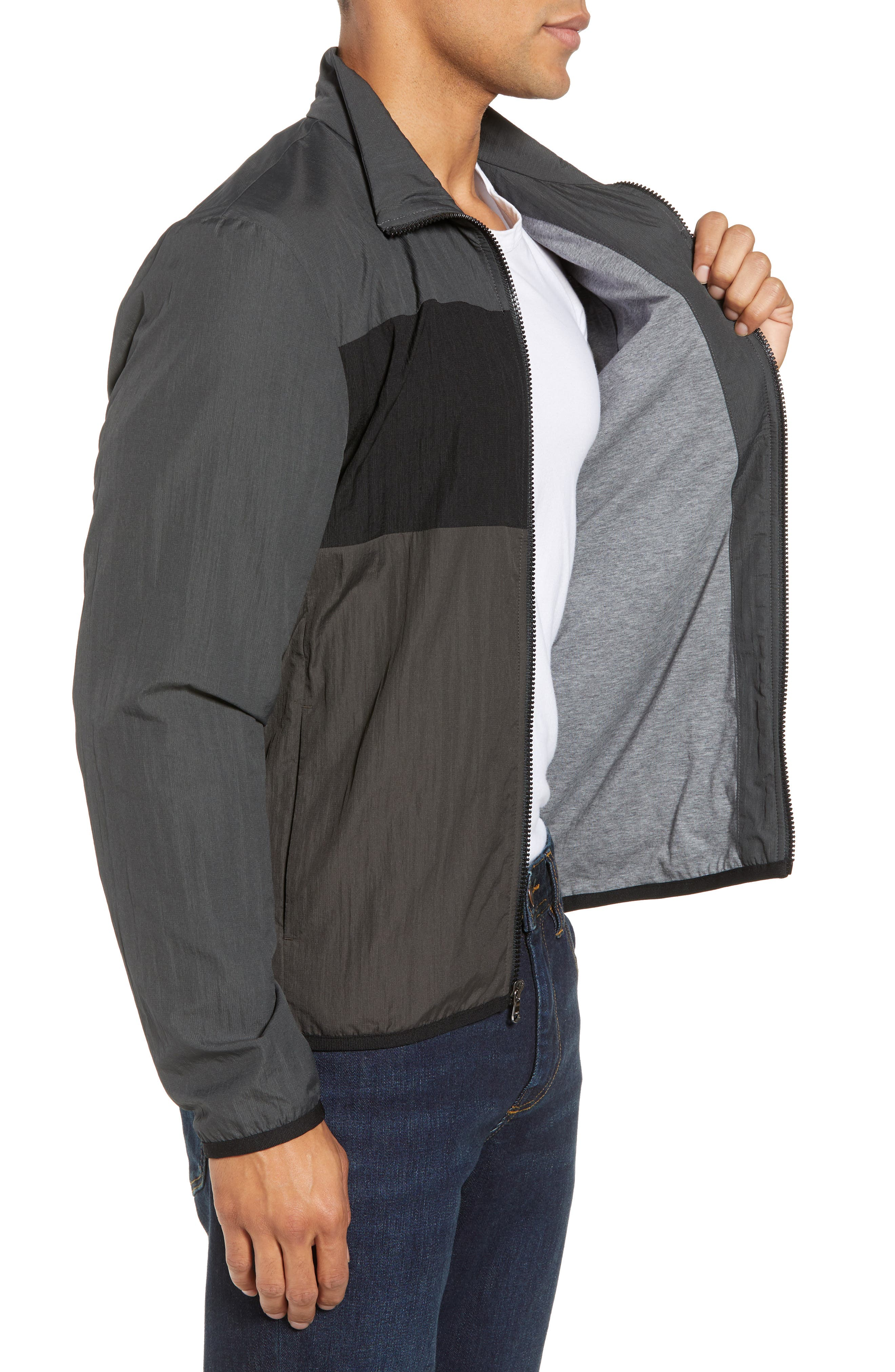 Stripe Ripstop Jacket,                             Alternate thumbnail 4, color,                             Pipe/ Black/ Abyss