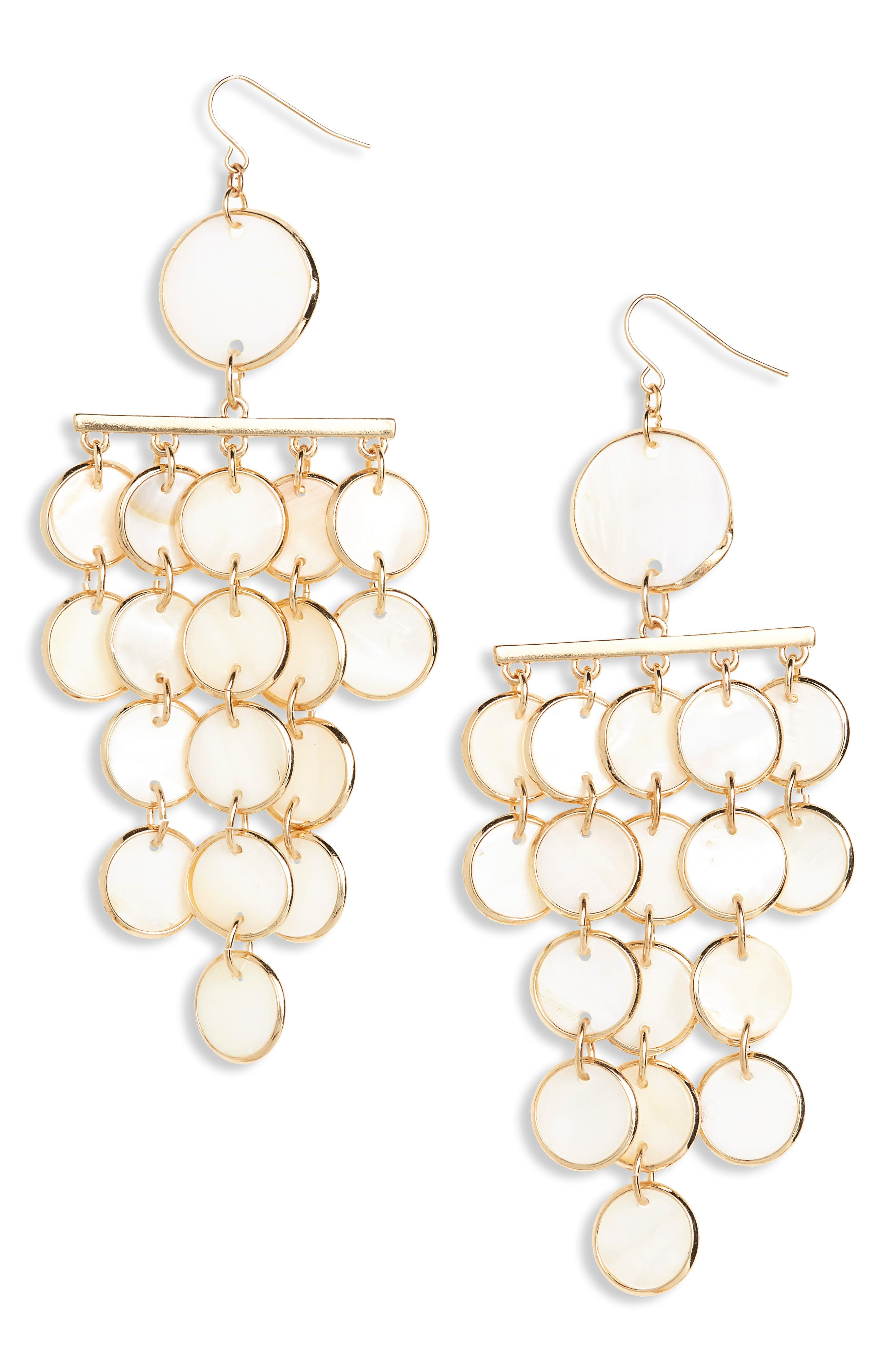 Mother of Pearl Chandelier Earrings,                         Main,                         color, Gold/ Shell