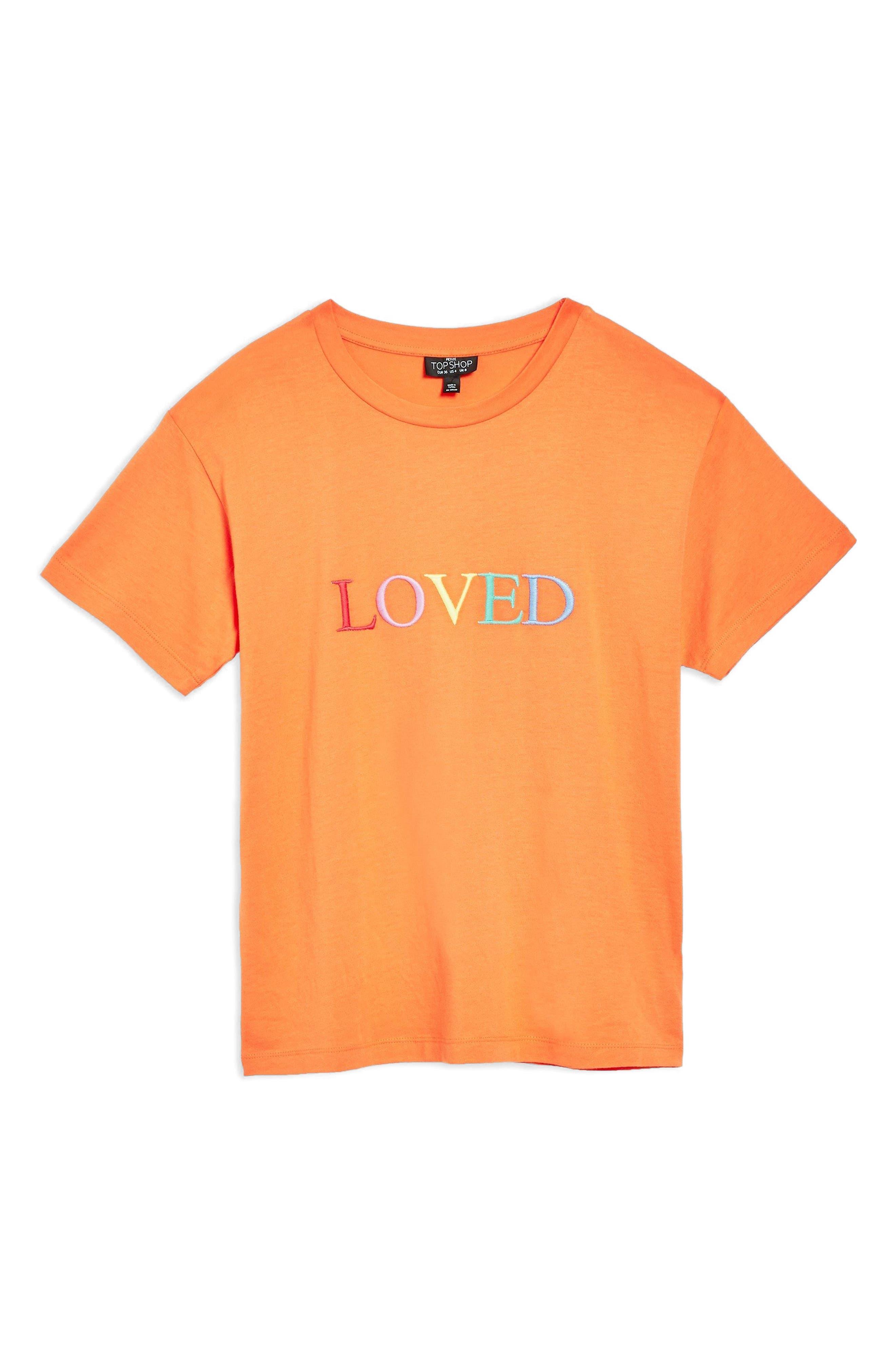 Loved Embroidered Tee,                             Alternate thumbnail 4, color,                             Orange