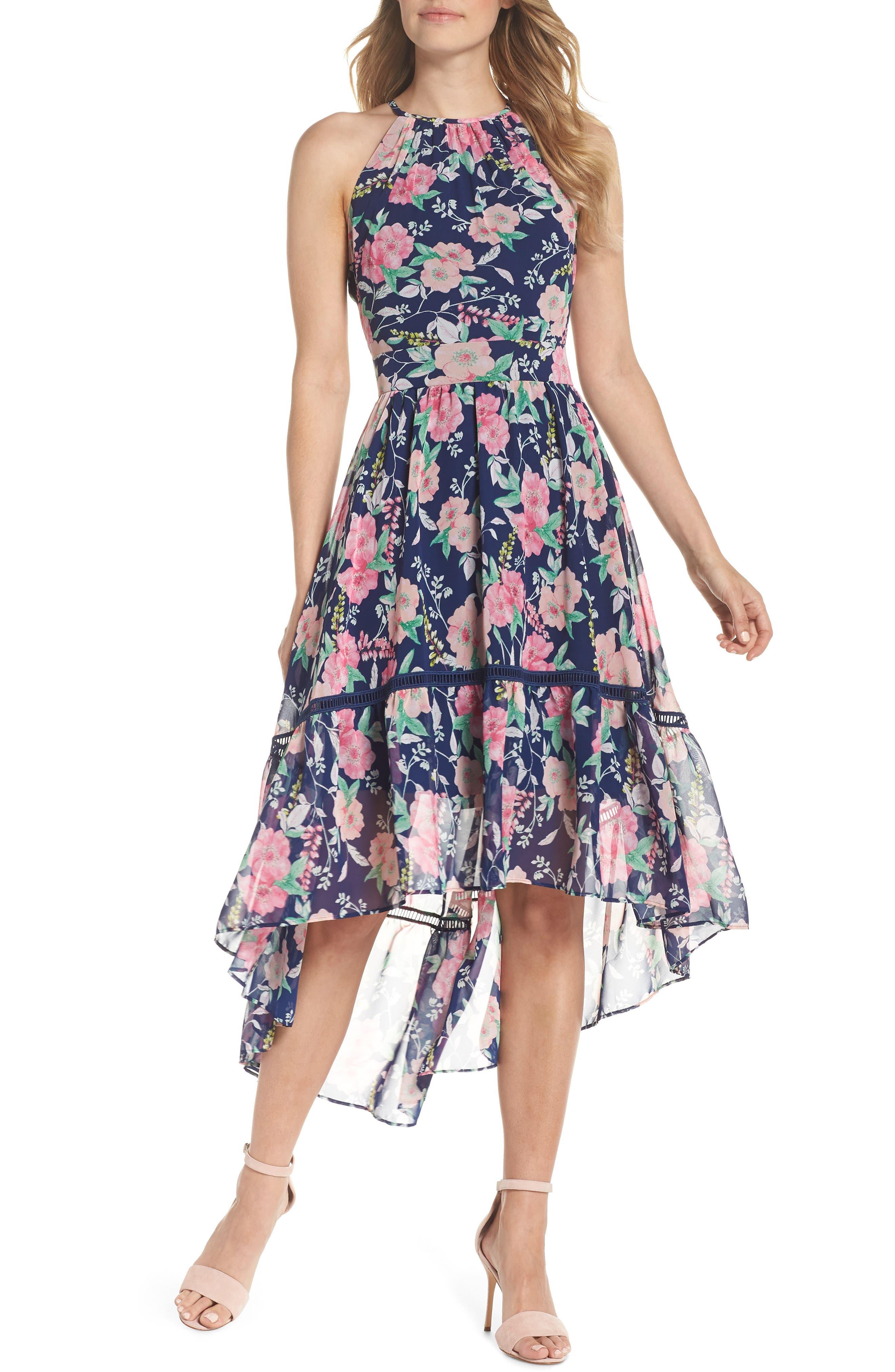 Halter Neck Fit & Flare Dress,                         Main,                         color, Navy/ Pink