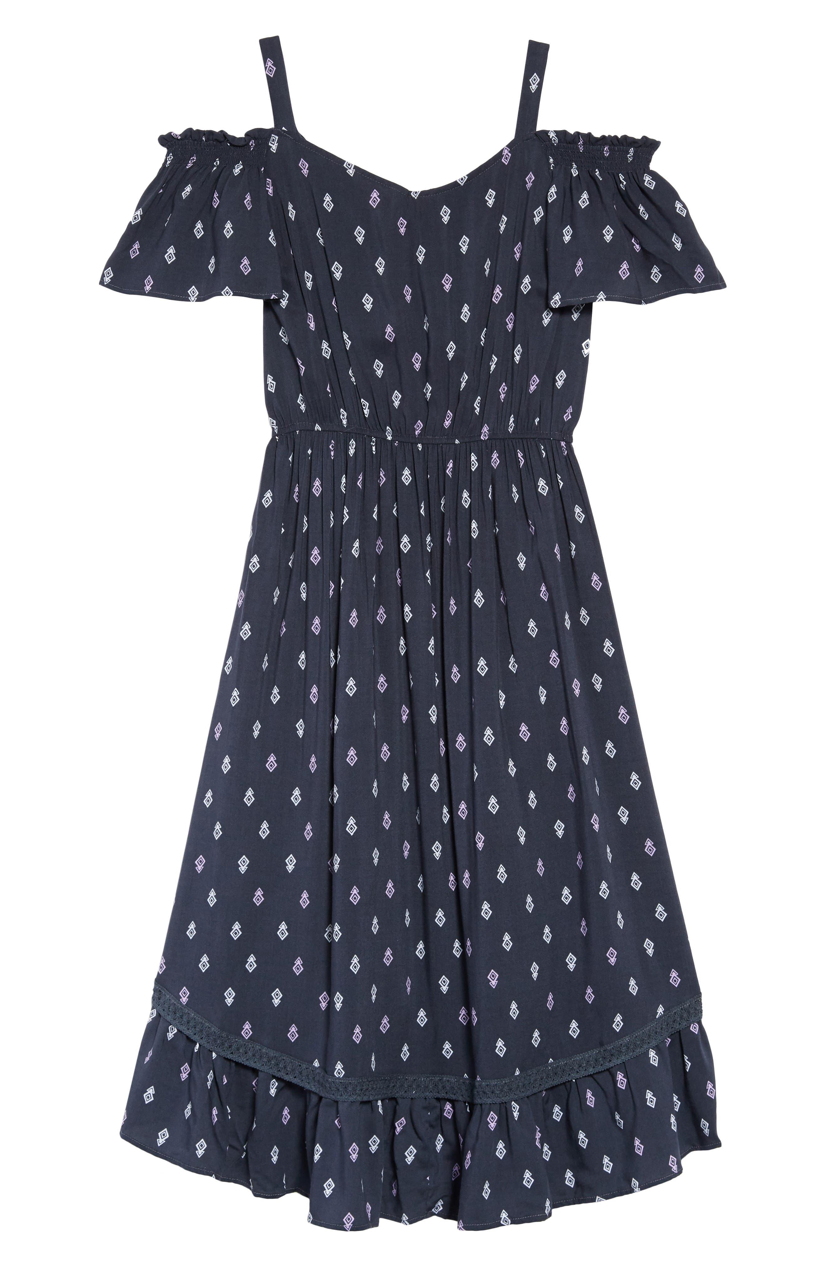 Geo Print Cold Shoulder Dress,                             Alternate thumbnail 2, color,                             Navy/ Multi