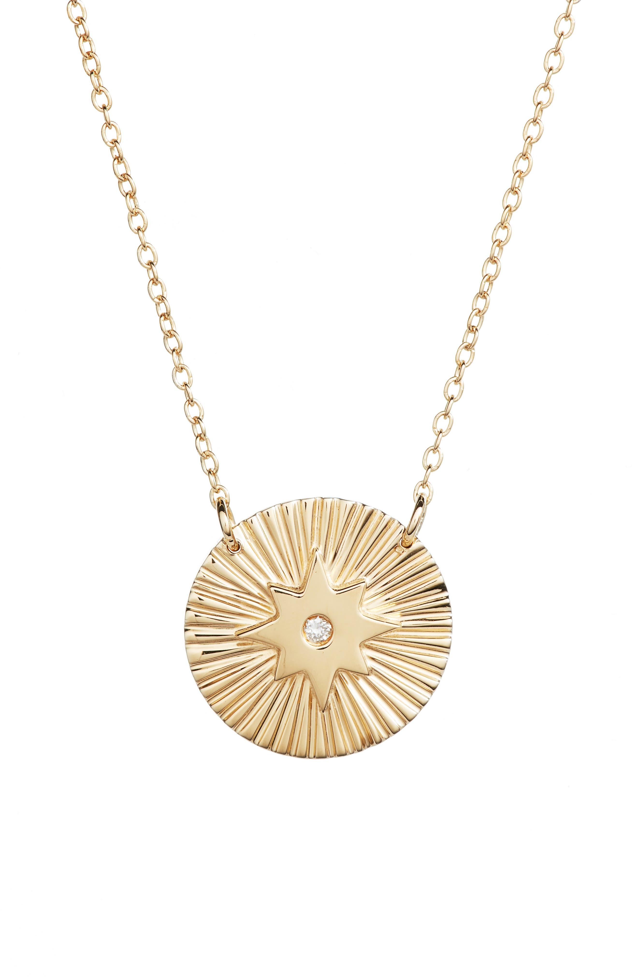 Iris Mini Gia Necklace,                         Main,                         color, Yellow Vermeil