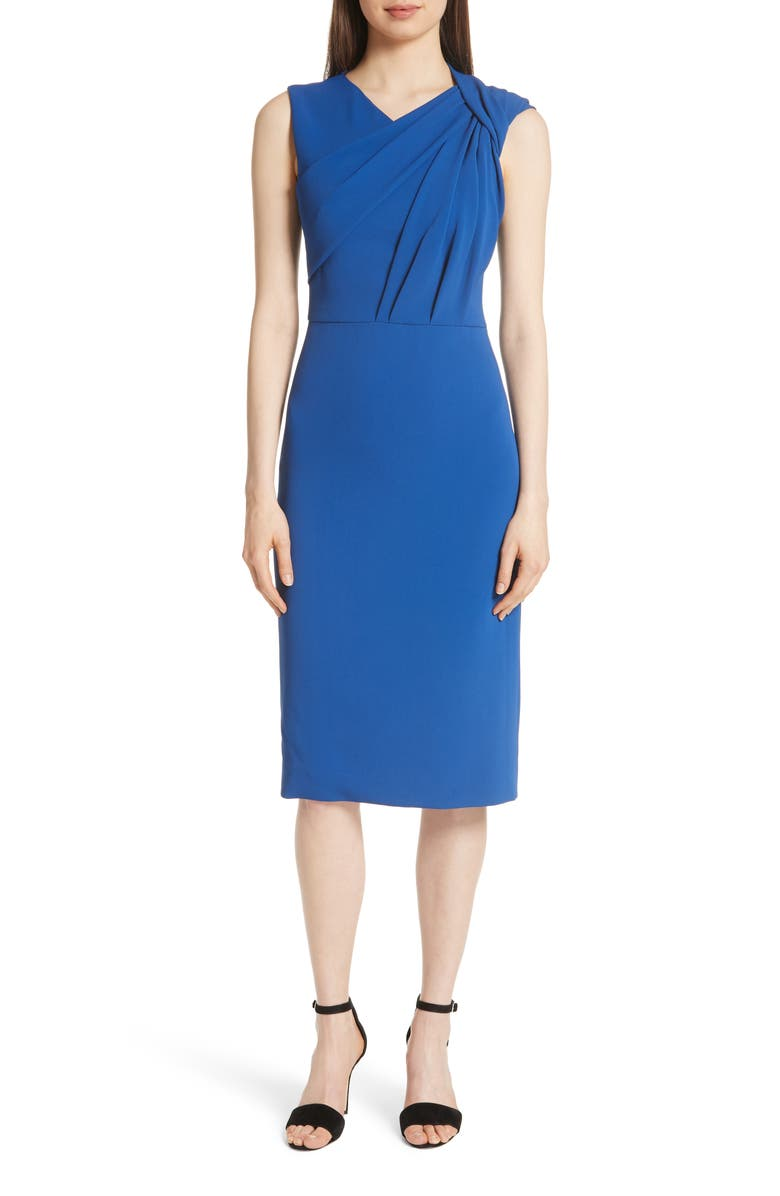 Gathered Bodice Stretch Crepe Sheath Dress