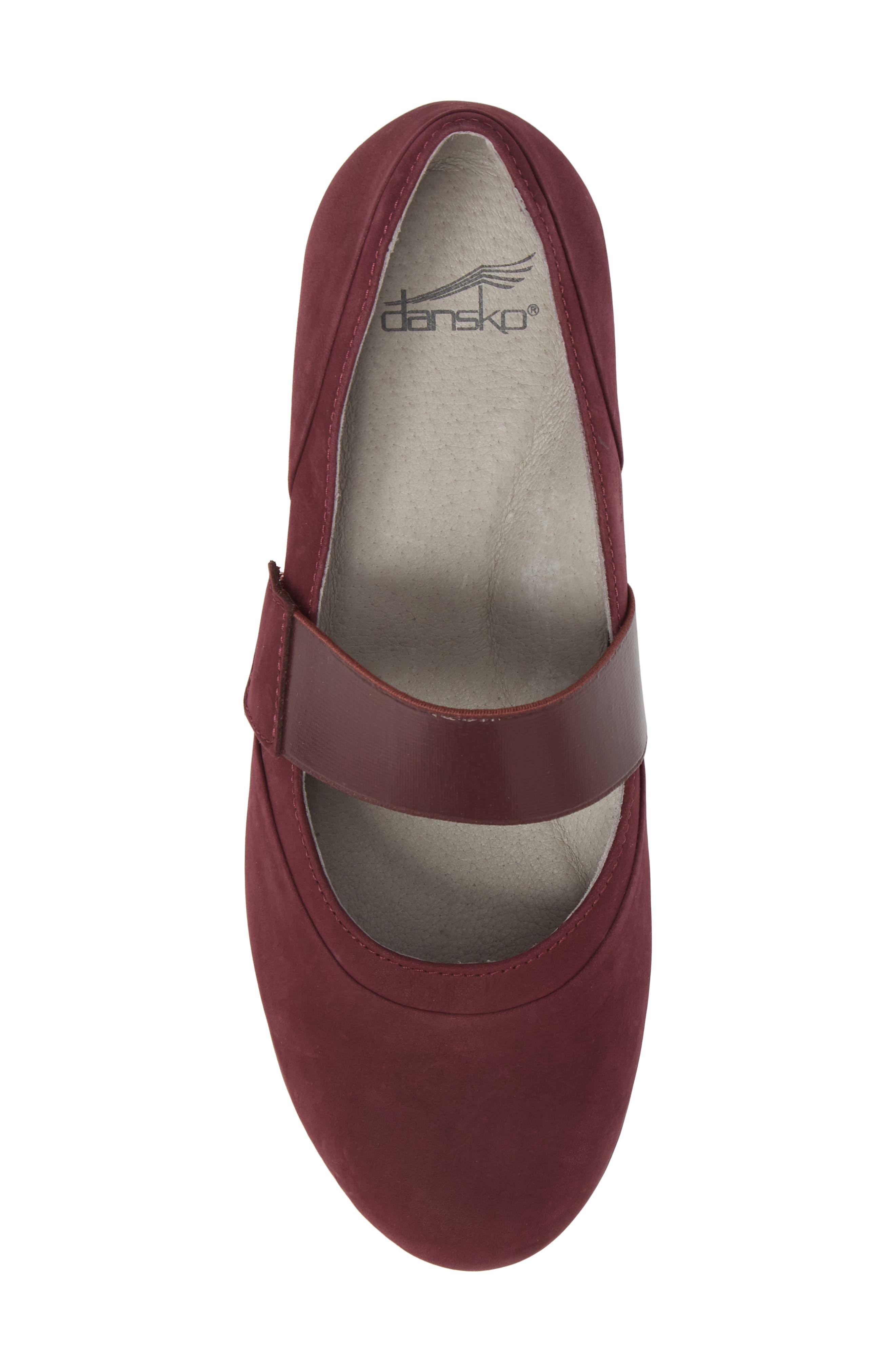 Kendra Mary Jane Wedge,                             Alternate thumbnail 5, color,                             Wine Milled Nubuck Leather
