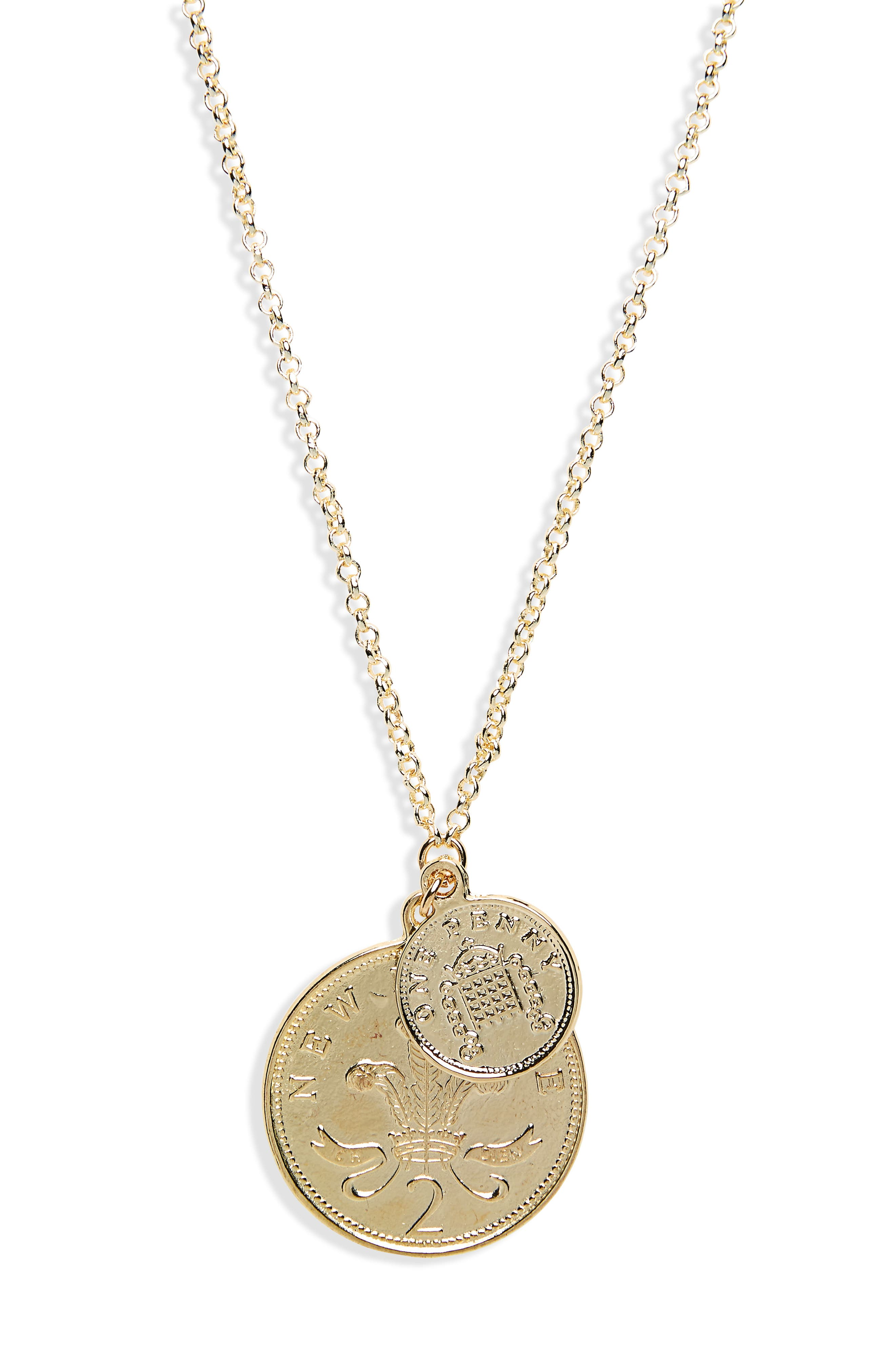 Double Coin Pendant Necklace,                             Alternate thumbnail 3, color,                             Yellow Gold