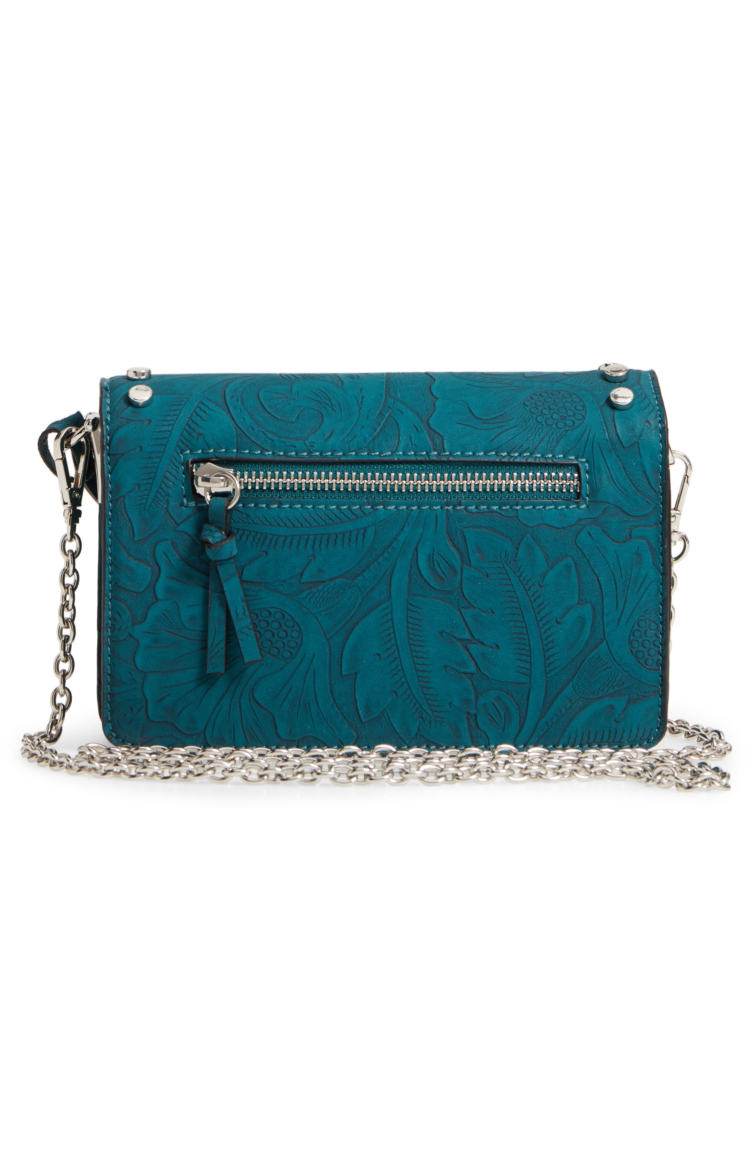 Hawna Faux Leather Crossbody,                             Alternate thumbnail 3, color,                             Teal